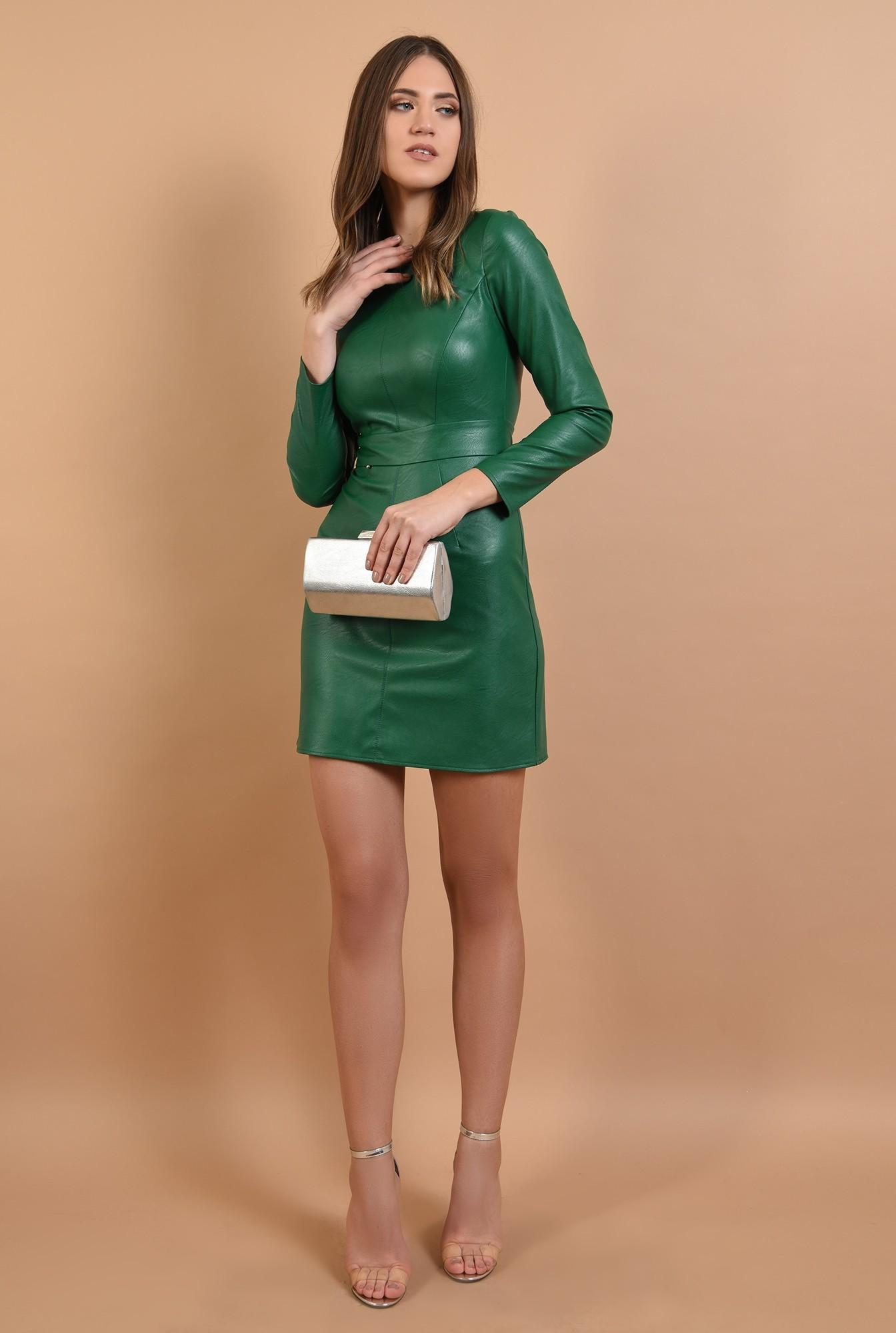 3 -  rochie eleganta, din piele, mini, cambrata, Poema
