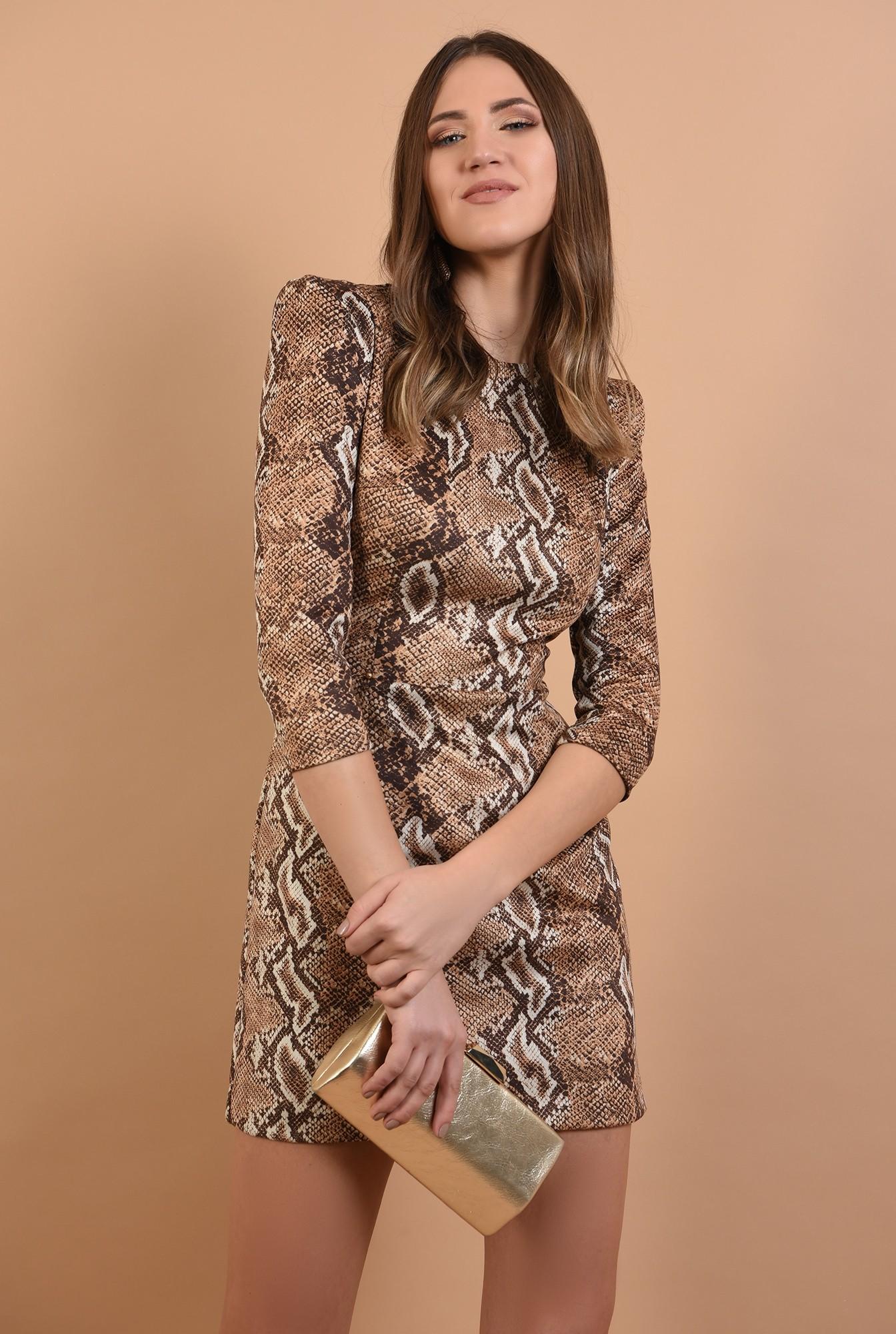 0 - 360 - rochie eleganta, scurta, animal print, maneci midi, cambrata