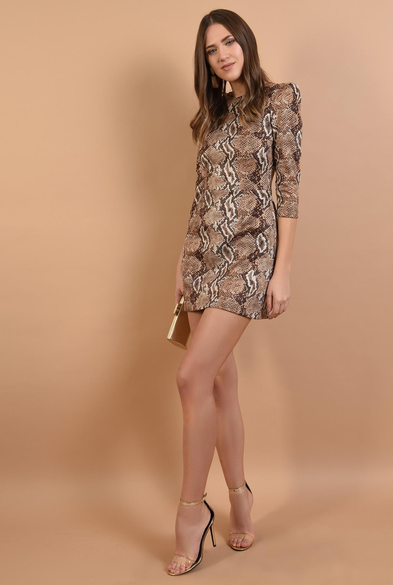 3 - 360 - rochie eleganta, scurta, animal print, maneci midi, cambrata