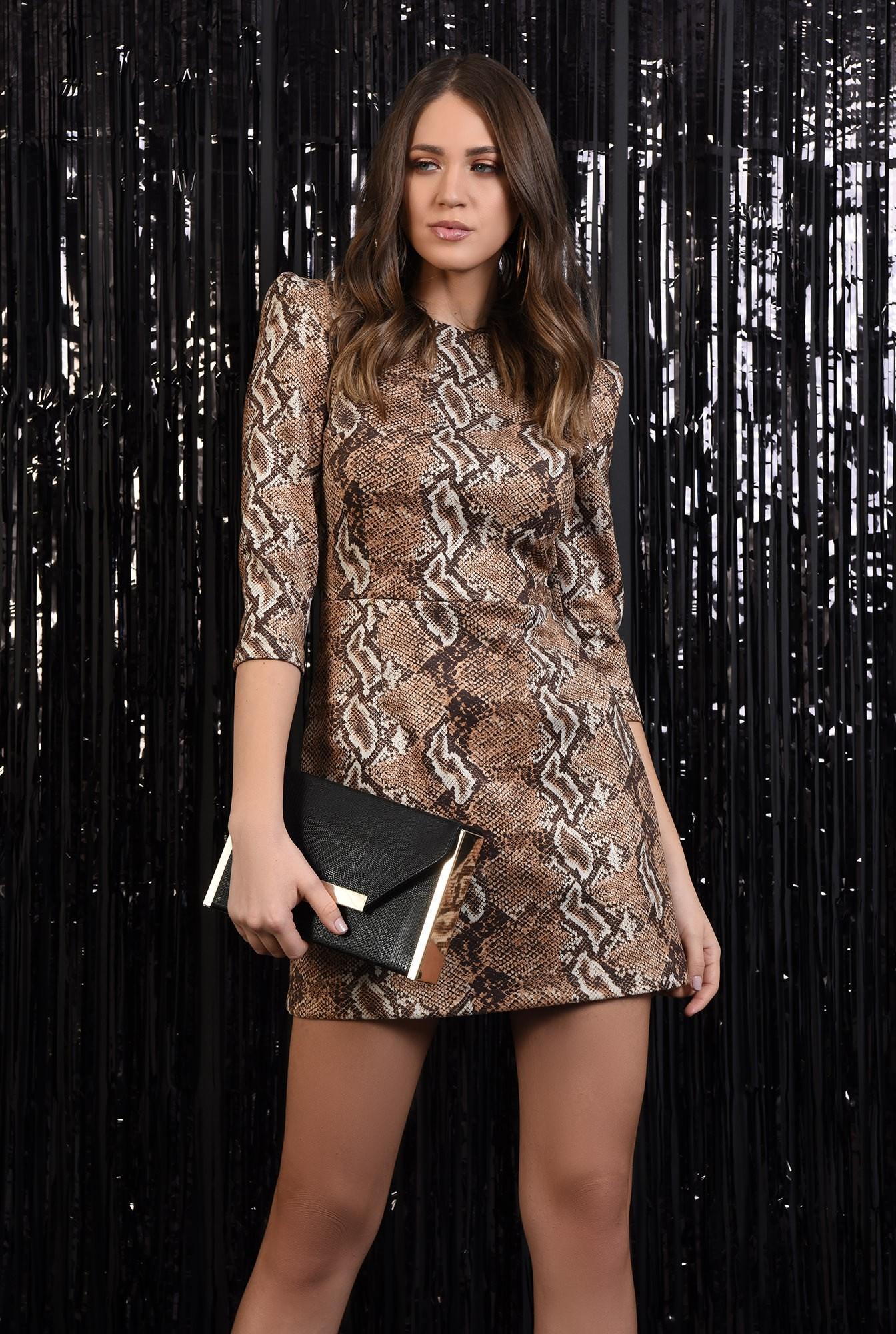 2 - rochie eleganta, scurta, animal print, maneci midi, cambrata