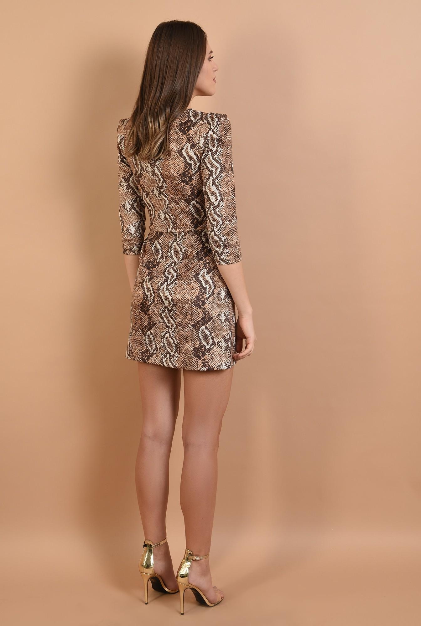 1 - 360 - rochie eleganta, scurta, animal print, maneci midi, cambrata