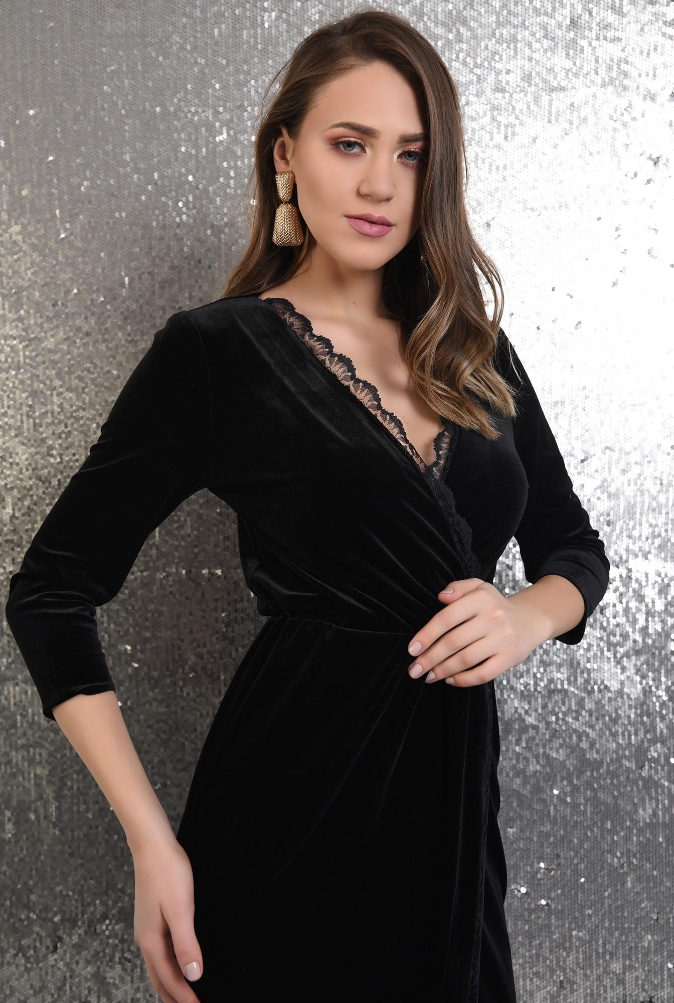 2 - rochie eleganta, conica, petrecuta, din catifea, cu dantela
