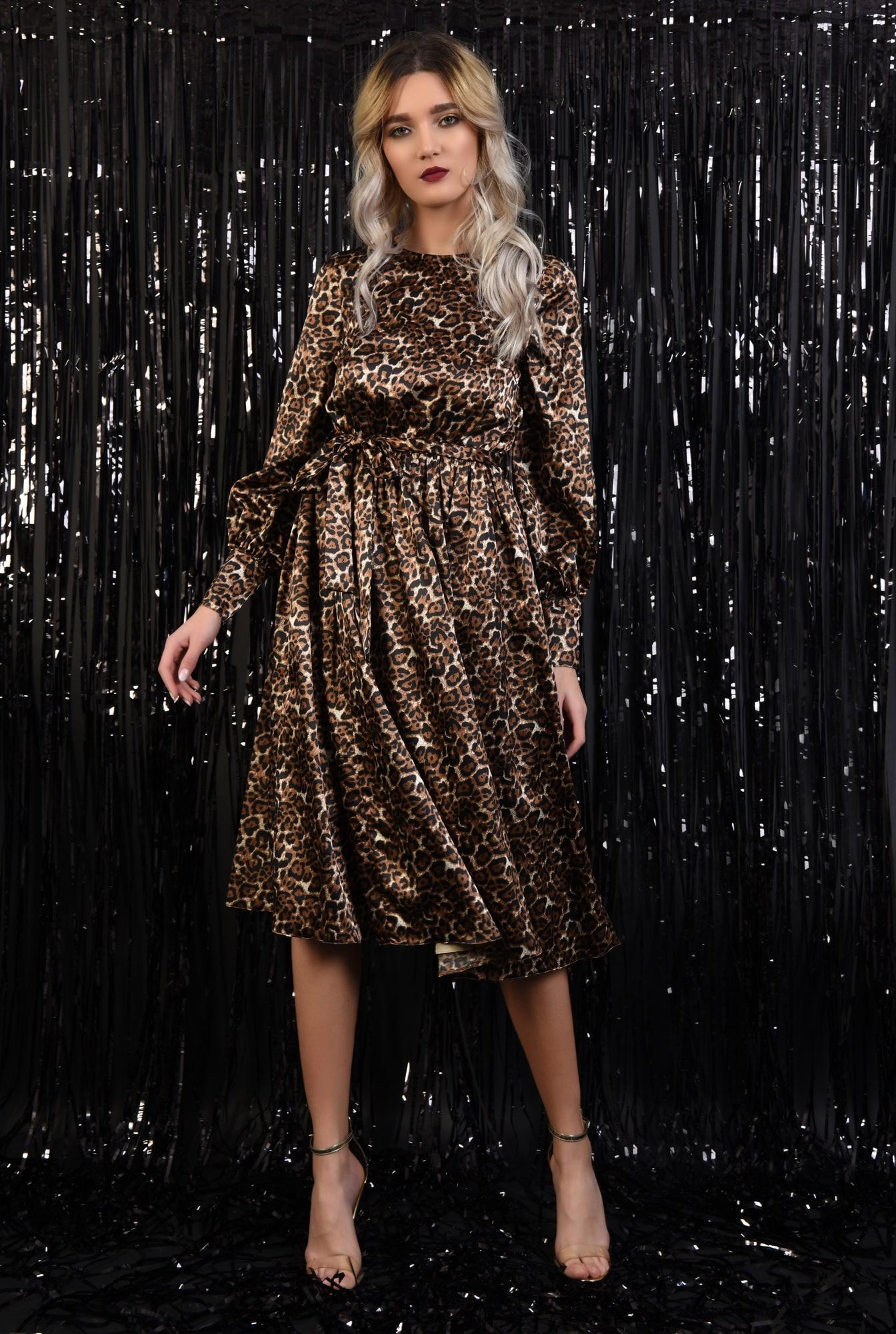 3 - 360 - rochie eleganta, din satin, animal print, nasturi la spate, evazata