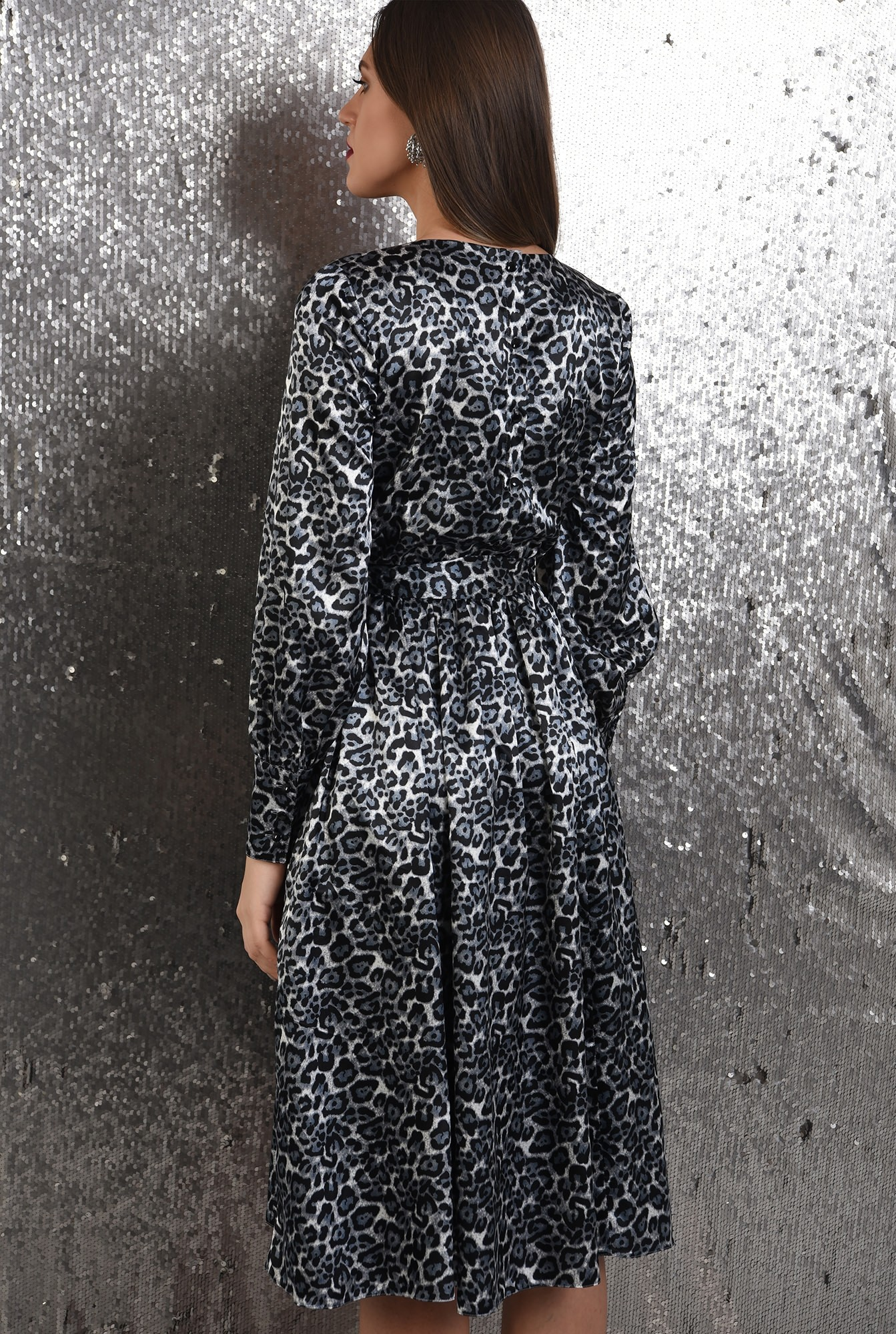 1 - rochie eleganta, din satin, animal print, nasturi la spate, evazata