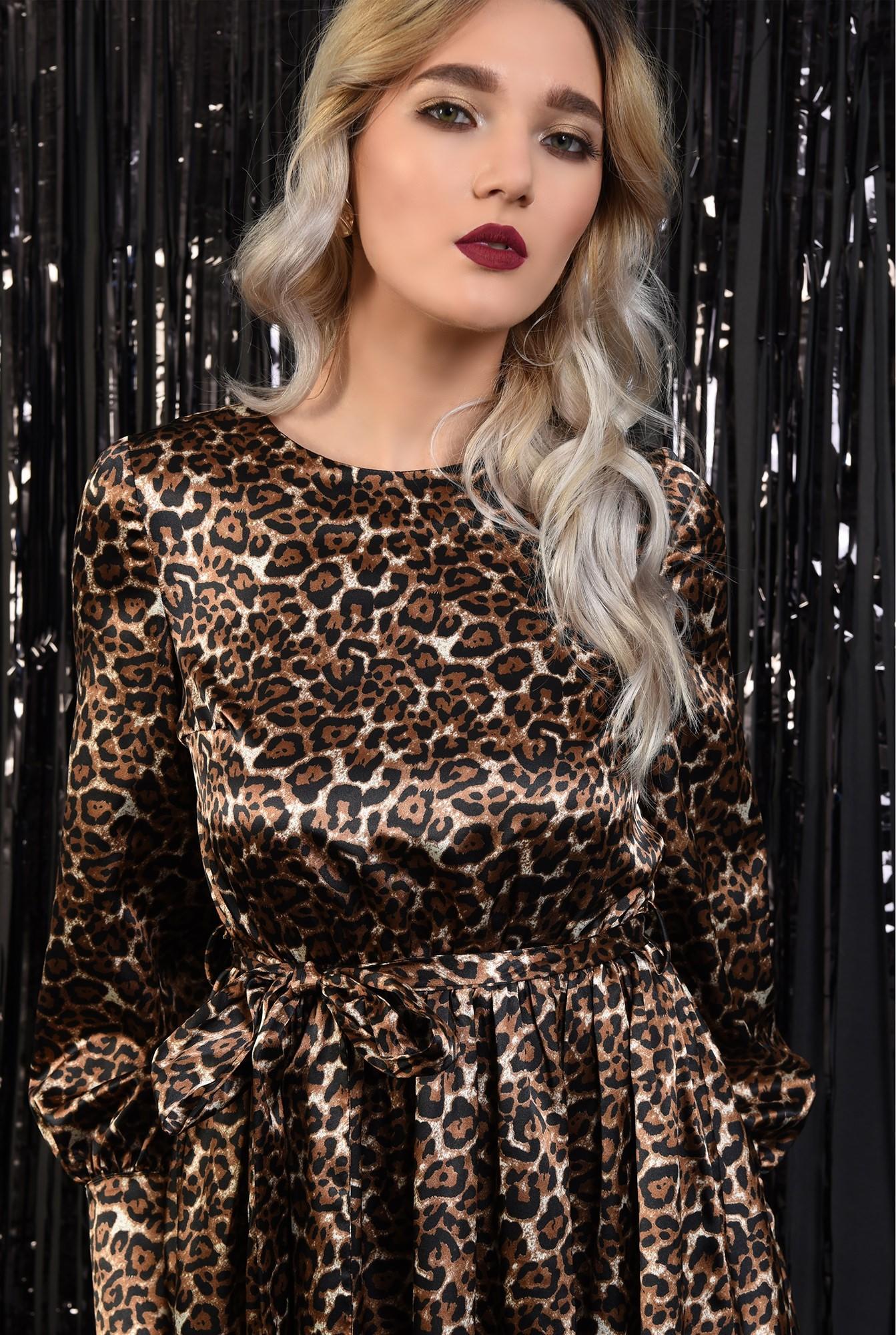 2 - 360 - rochie eleganta, din satin, animal print, nasturi la spate, evazata