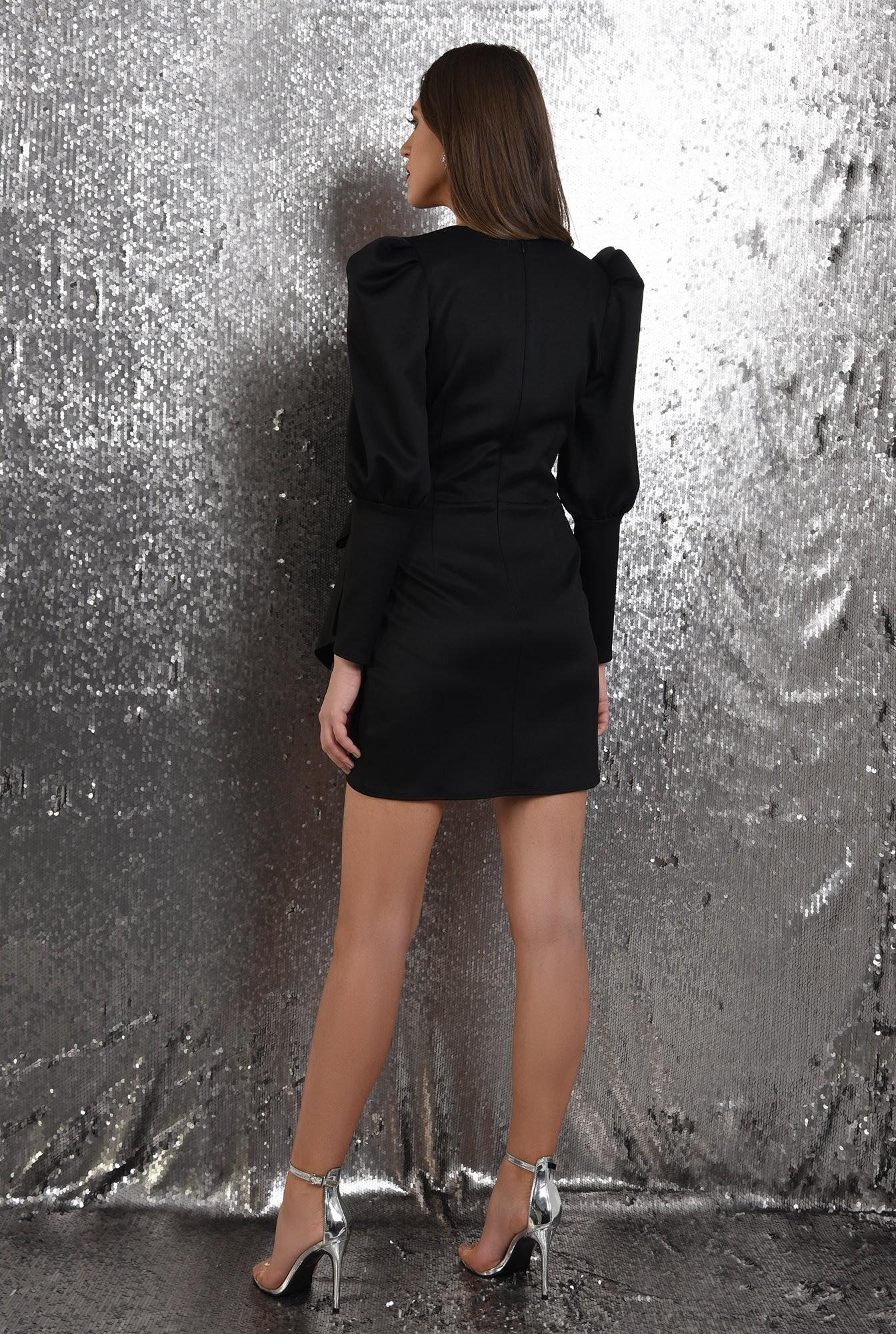 1 - rochie neagra, petrecuta, cu funda, maneci muton, Poema, rochie de seara