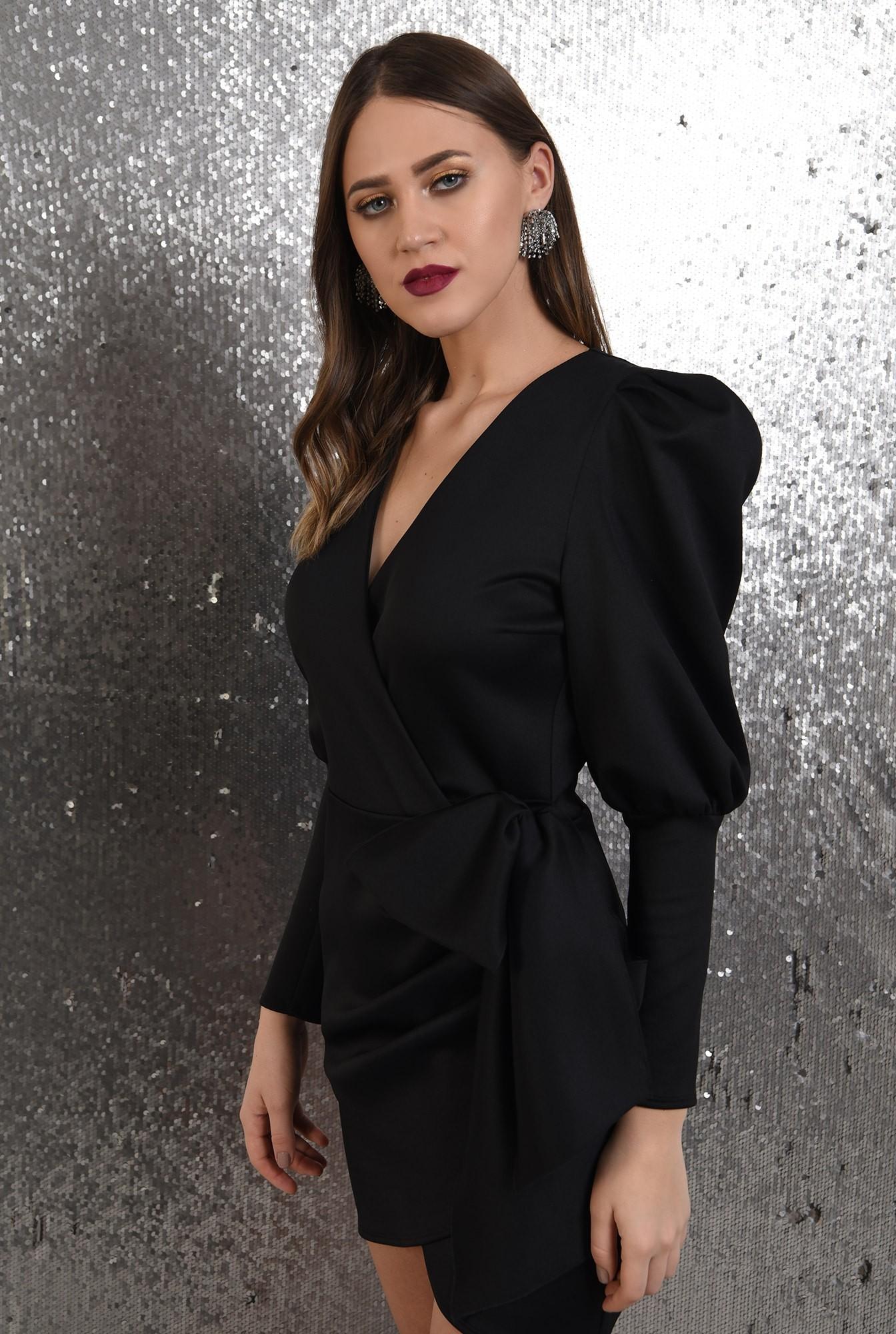 2 - rochie neagra, petrecuta, cu funda, maneci muton, Poema, rochie de seara