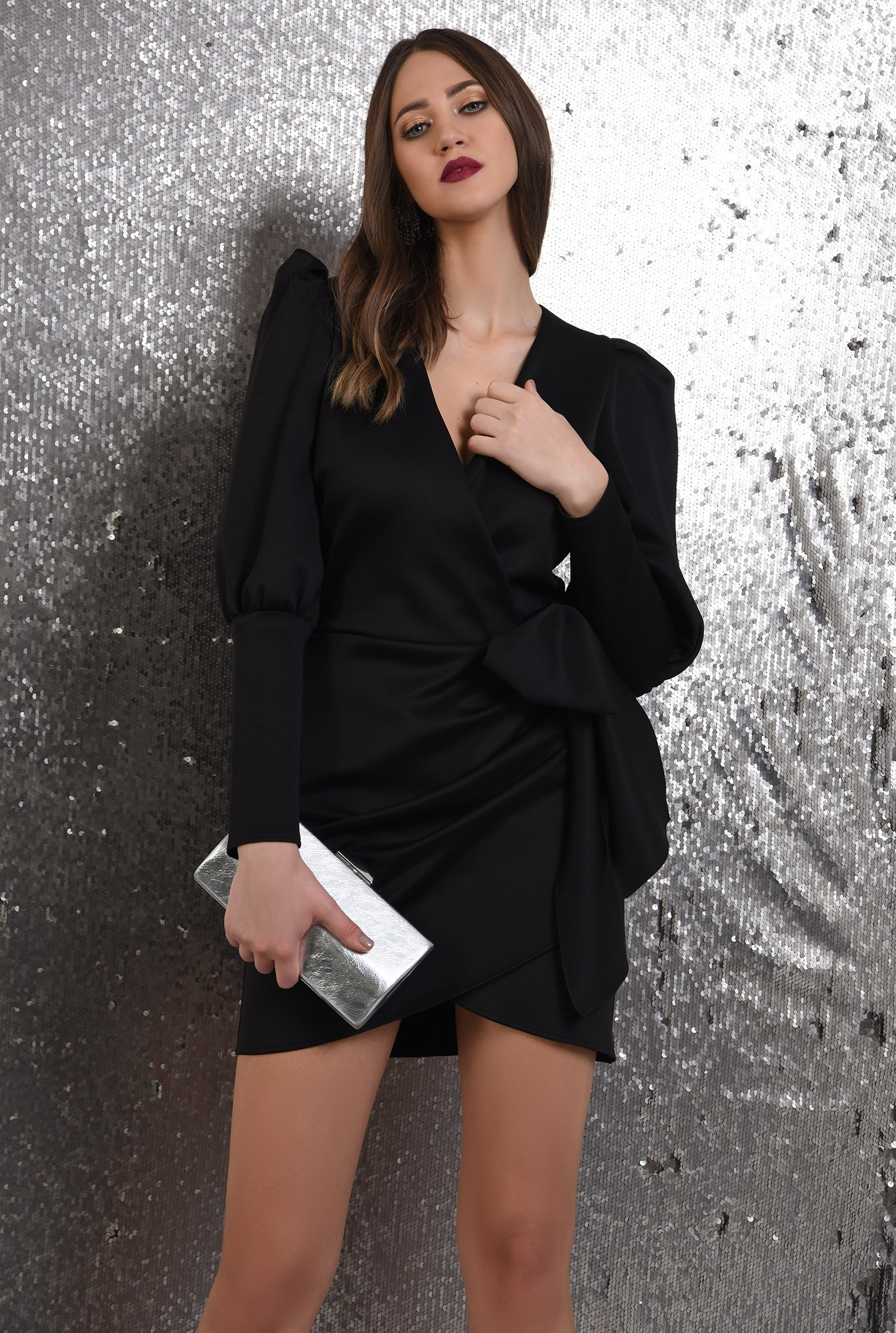 0 - rochie neagra, petrecuta, cu funda, maneci muton, Poema, rochie de seara