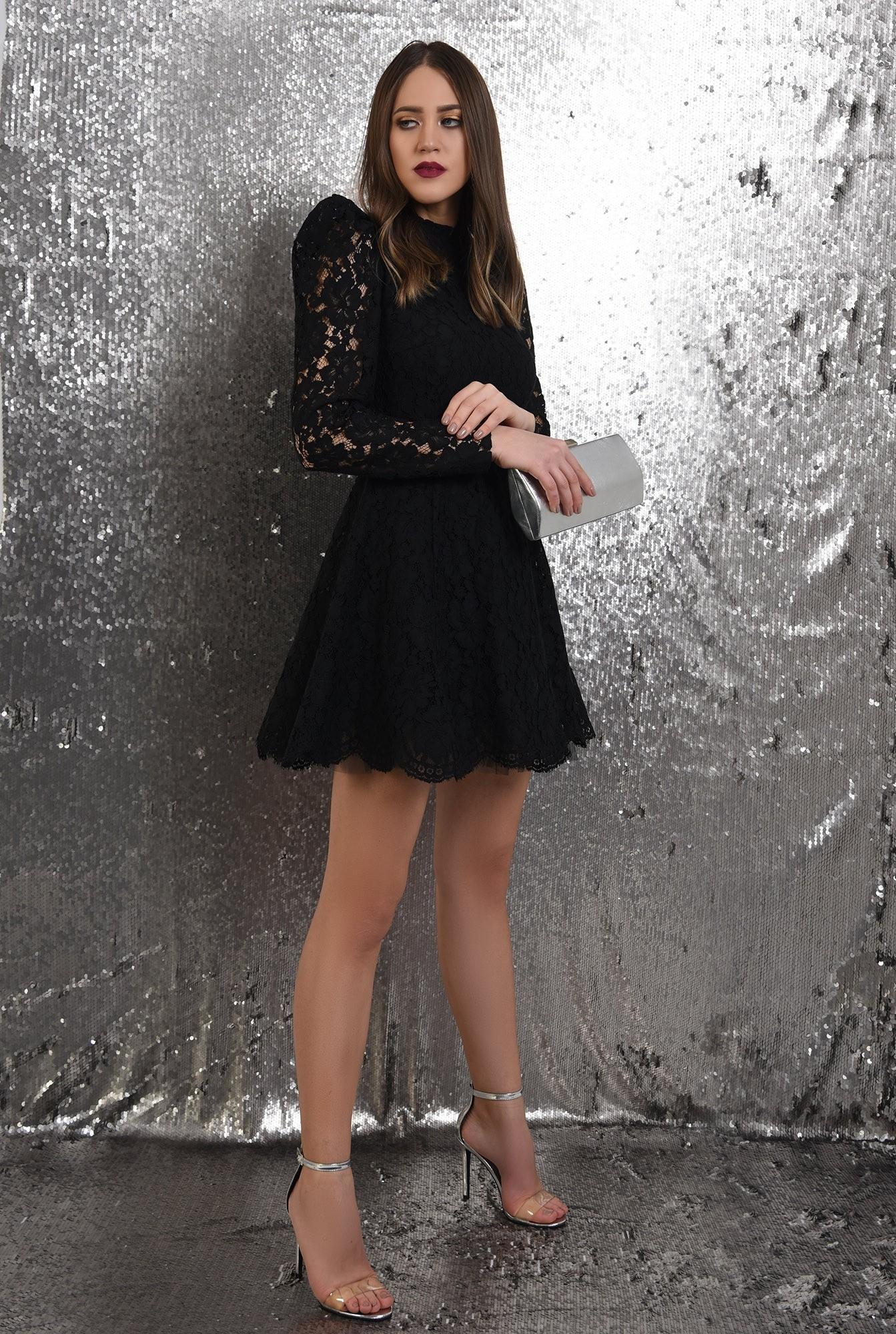 3 - rochie eleganta, din dantela neagra, Poema, cu tul, rochie de ocazie
