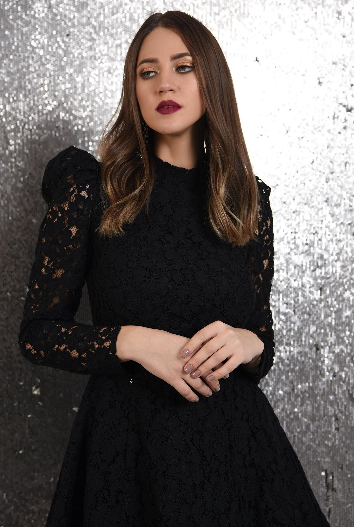 2 - rochie eleganta, din dantela neagra, Poema, cu tul, rochie de ocazie