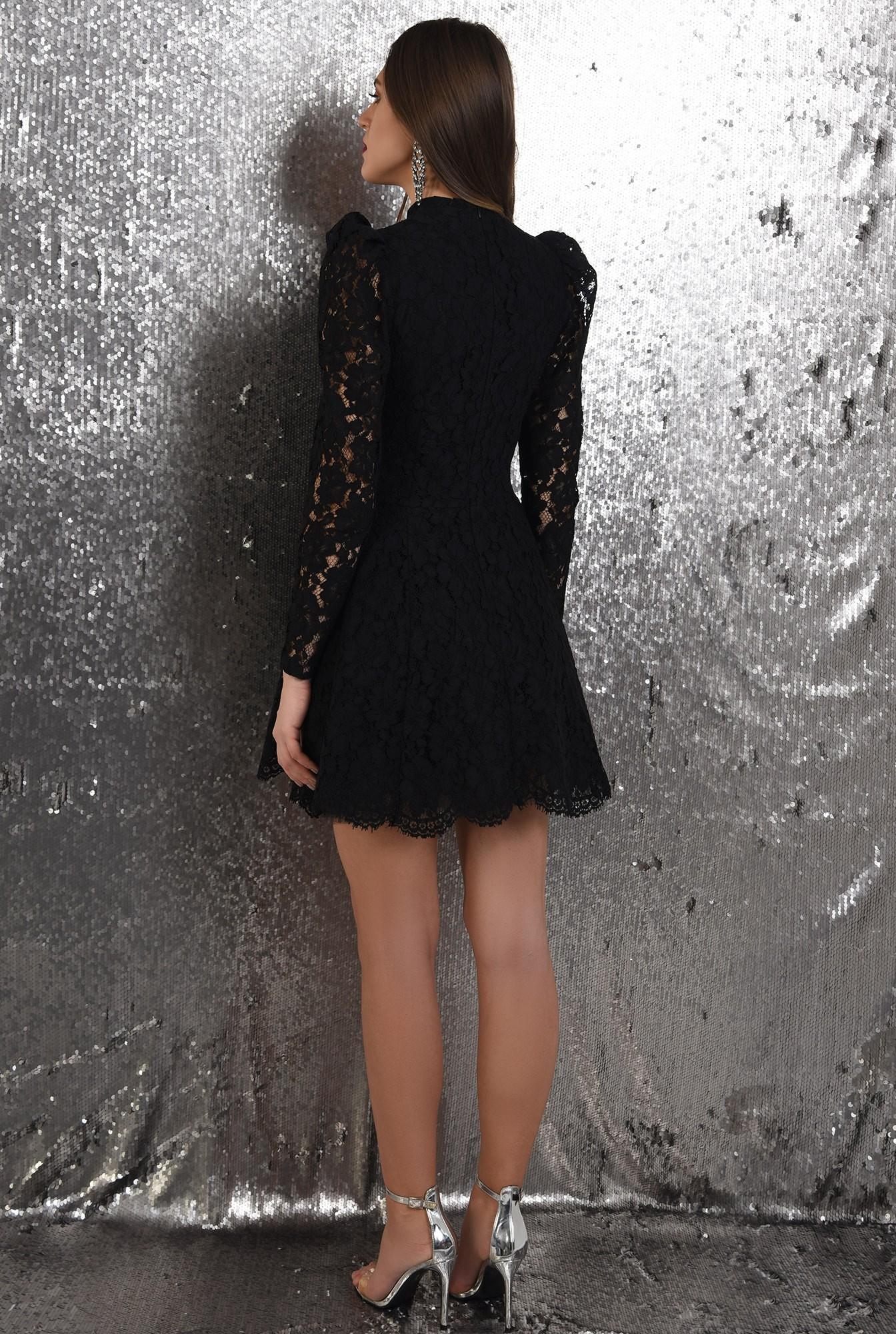 1 - rochie eleganta, din dantela neagra, Poema, cu tul, rochie de ocazie