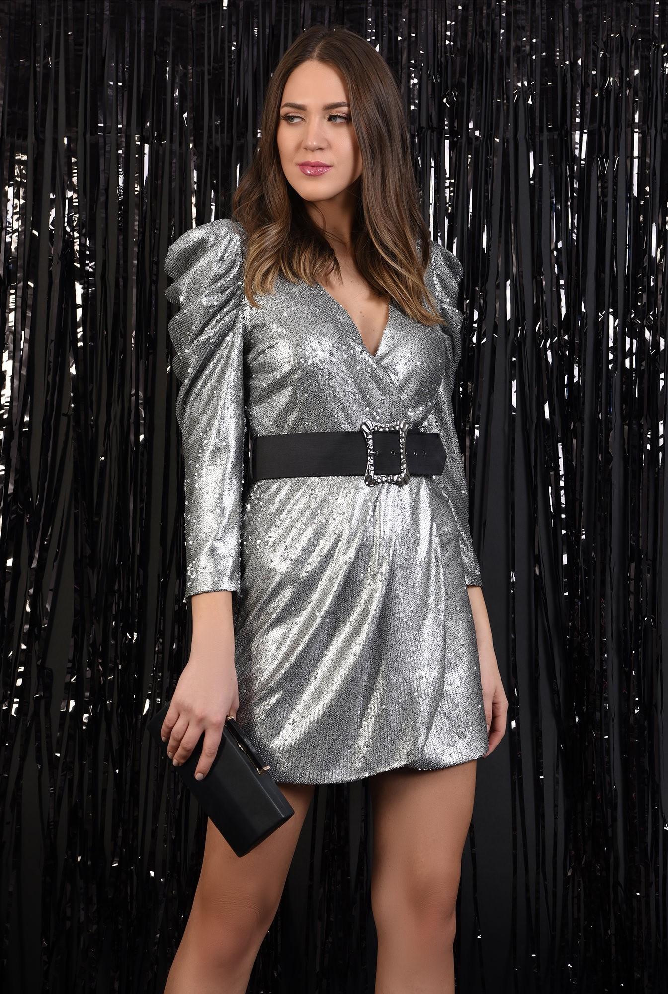 0 - rochie cu paiete, Poema, argintie, scurta, petrecuta, cu centura