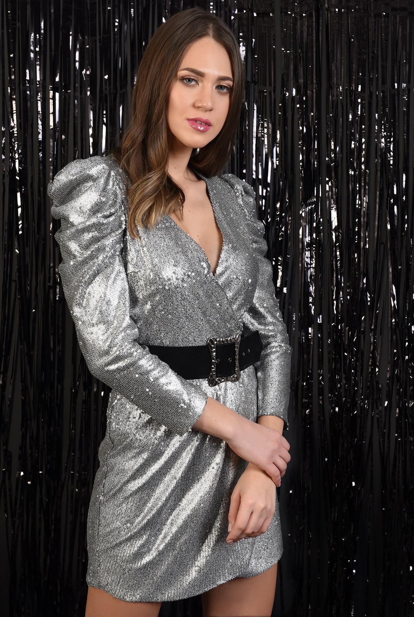 2 - rochie cu paiete, Poema, argintie, scurta, petrecuta, cu centura