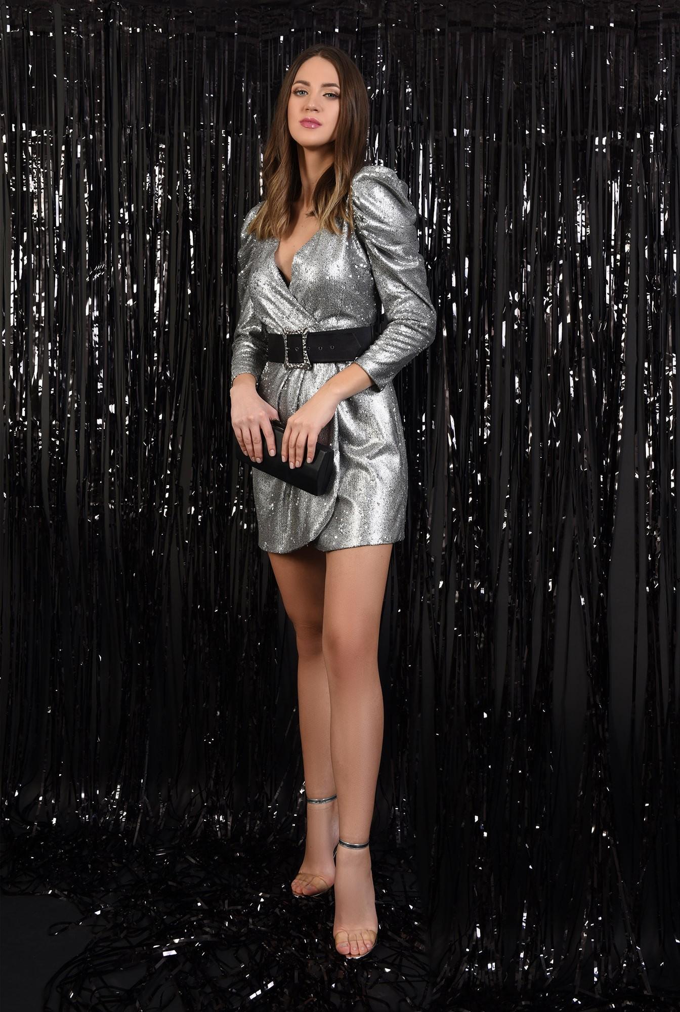 3 - rochie cu paiete, Poema, argintie, scurta, petrecuta, cu centura