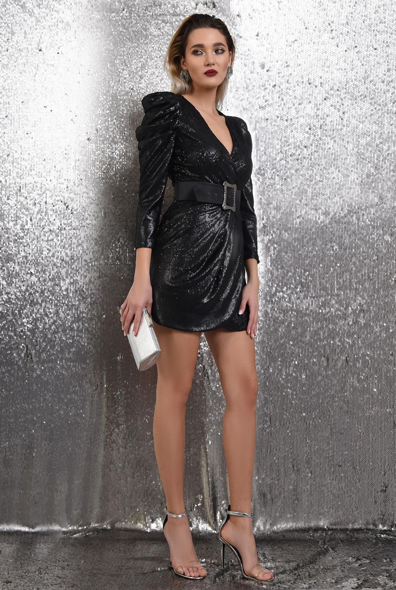 0 - 360 - rochie eleganta, neagra, scurta, cu paiete, curea