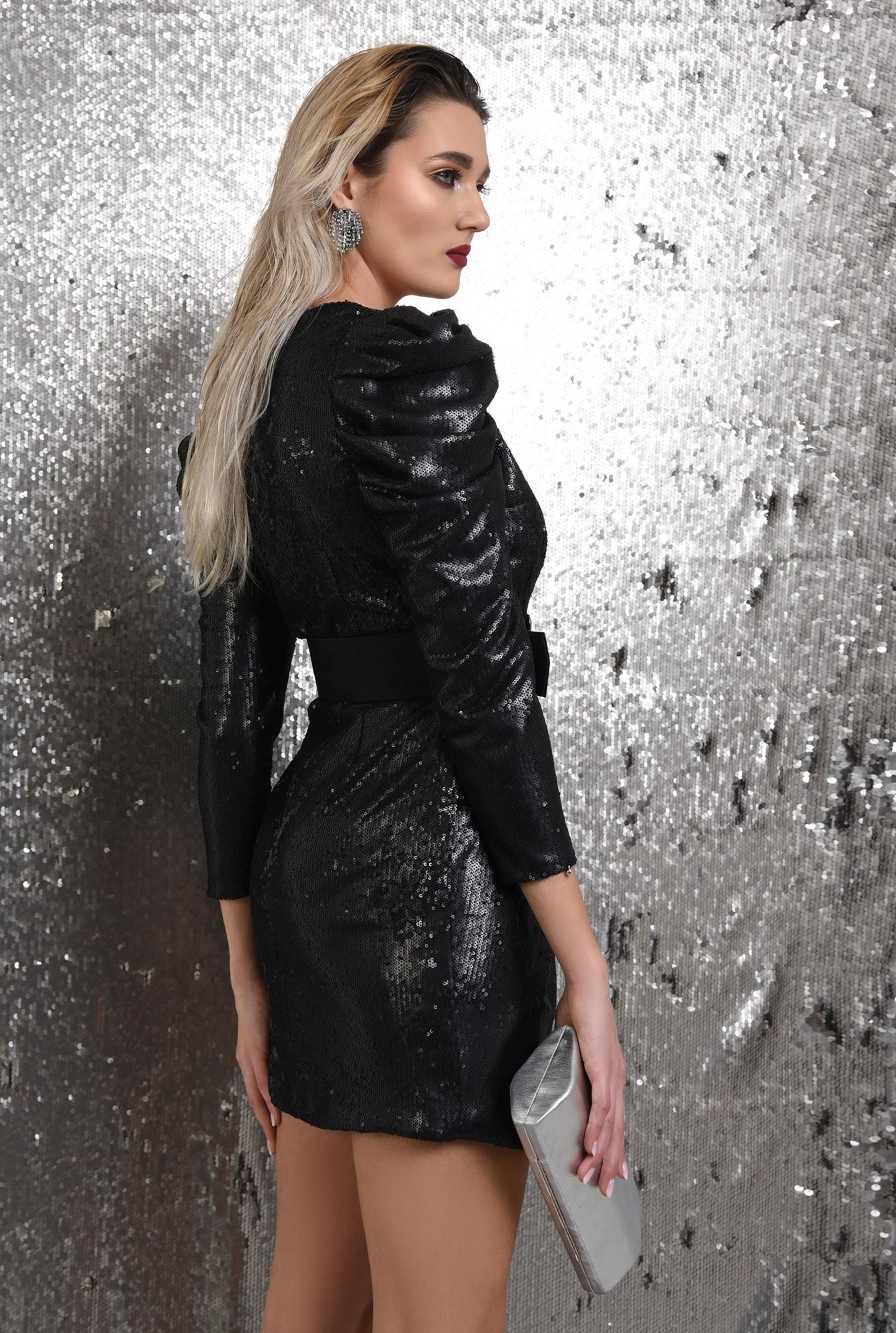 1 - 360 - rochie eleganta, neagra, scurta, cu paiete, curea