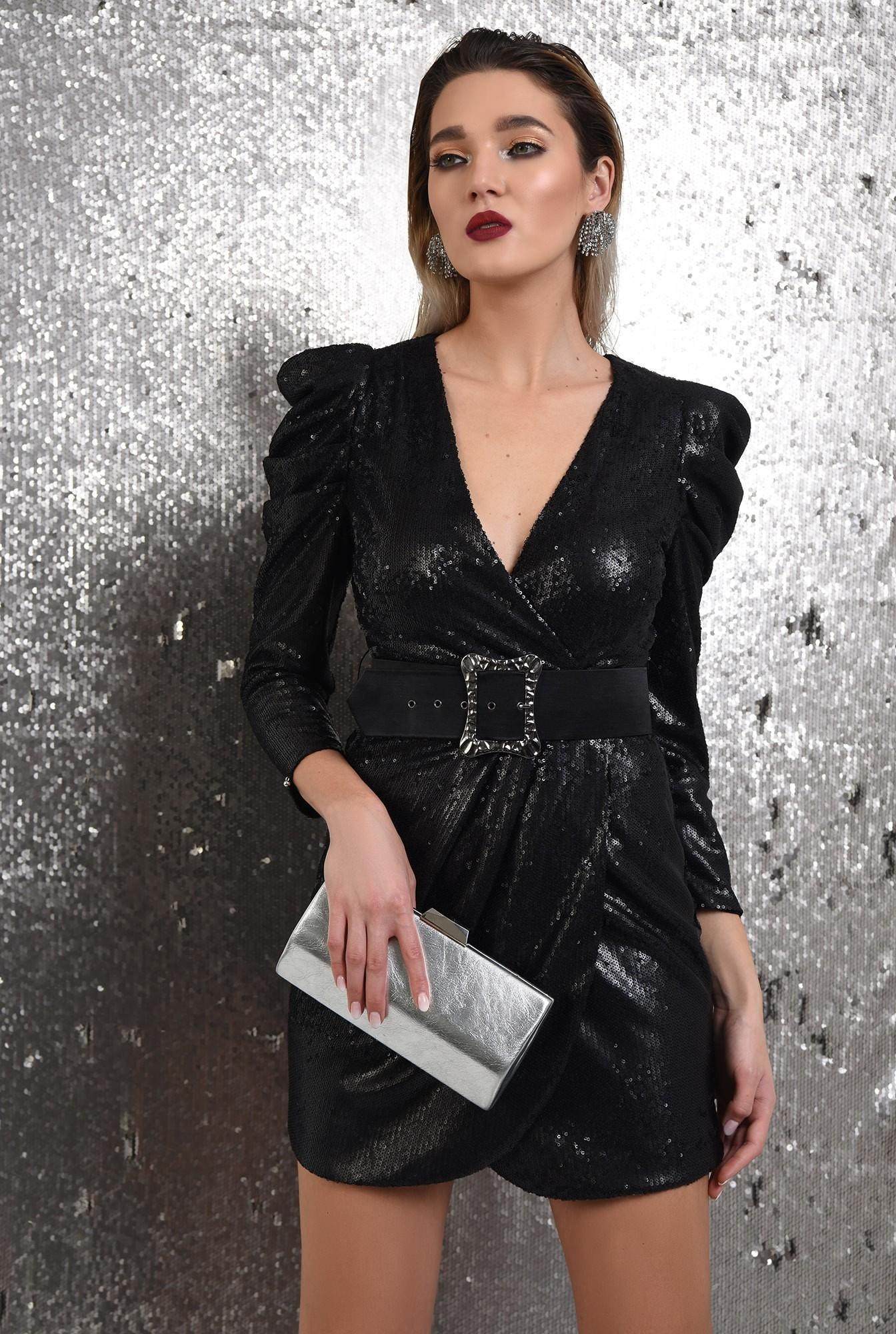 2 - 360 - rochie eleganta, neagra, scurta, cu paiete, curea