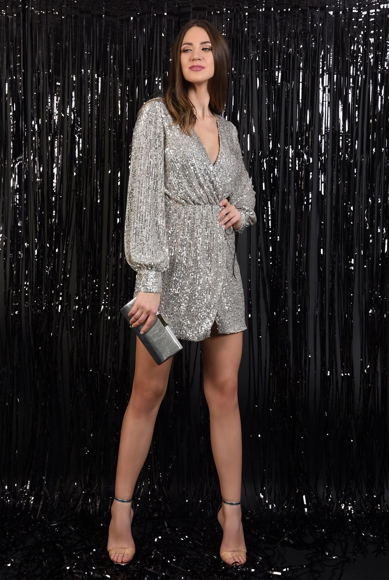 3 - 360 - rochie eleganta, cu paiete, aurie, snur din piele, scurta, Poema