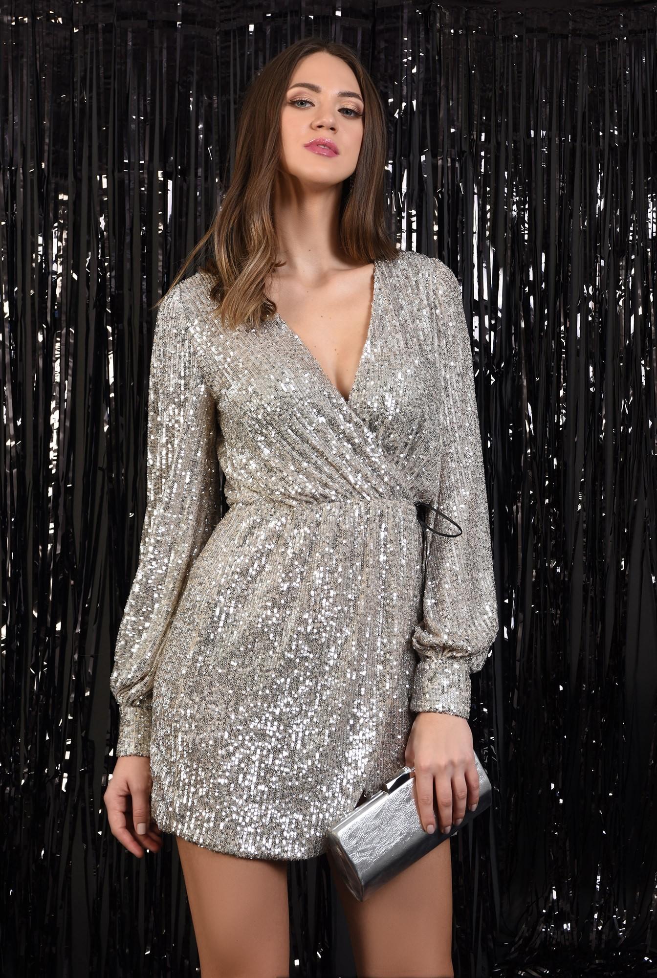 0 - 360 - rochie eleganta, cu paiete, aurie, snur din piele, scurta, Poema