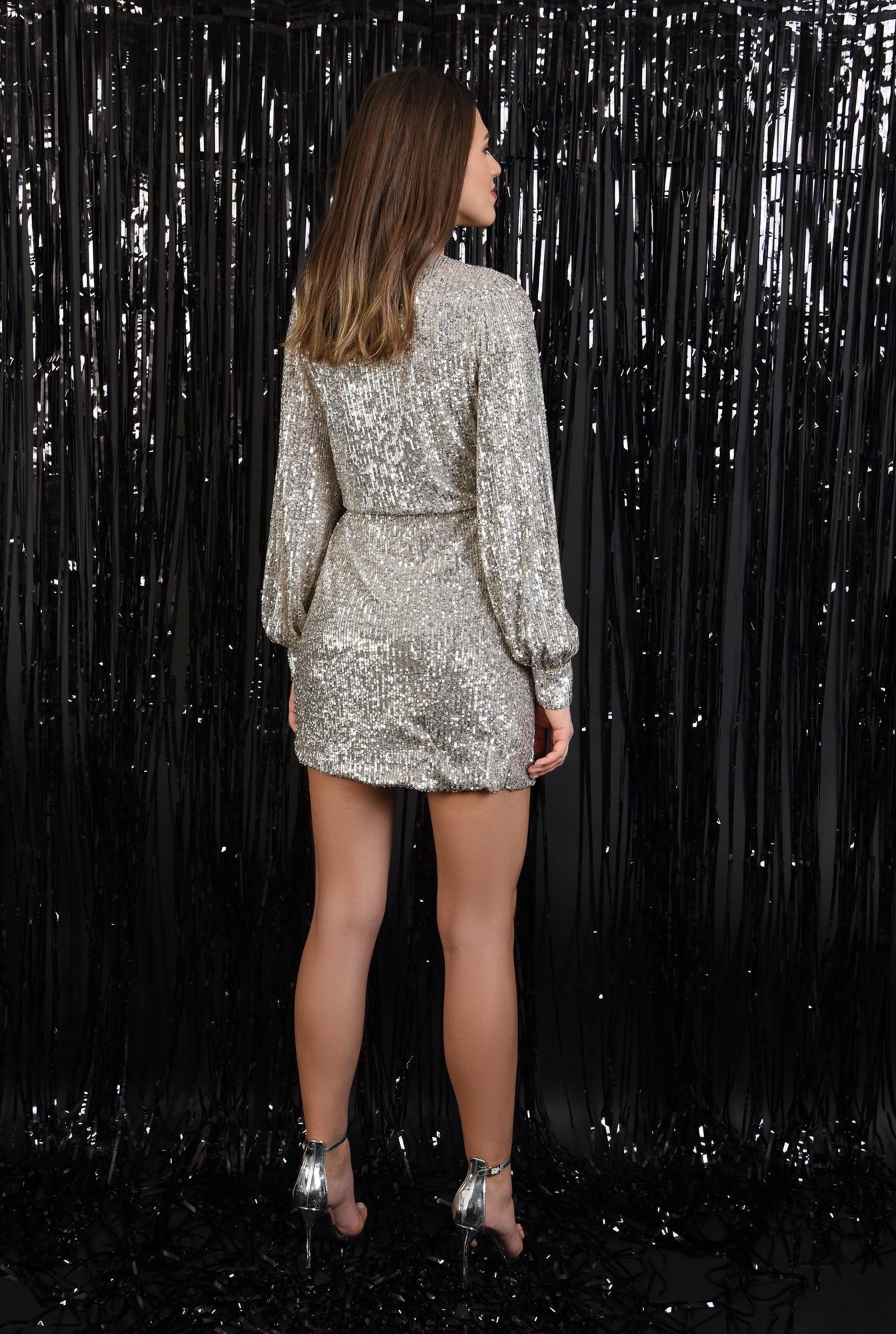 1 - 360 - rochie eleganta, cu paiete, aurie, snur din piele, scurta, Poema