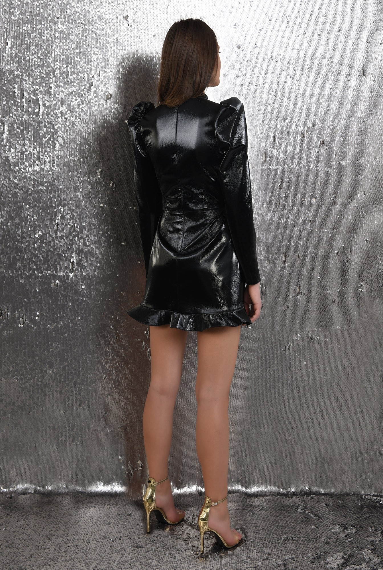 1 - rochie de ocazie, scurta, eleganta, lacuita, cu volan, Poema