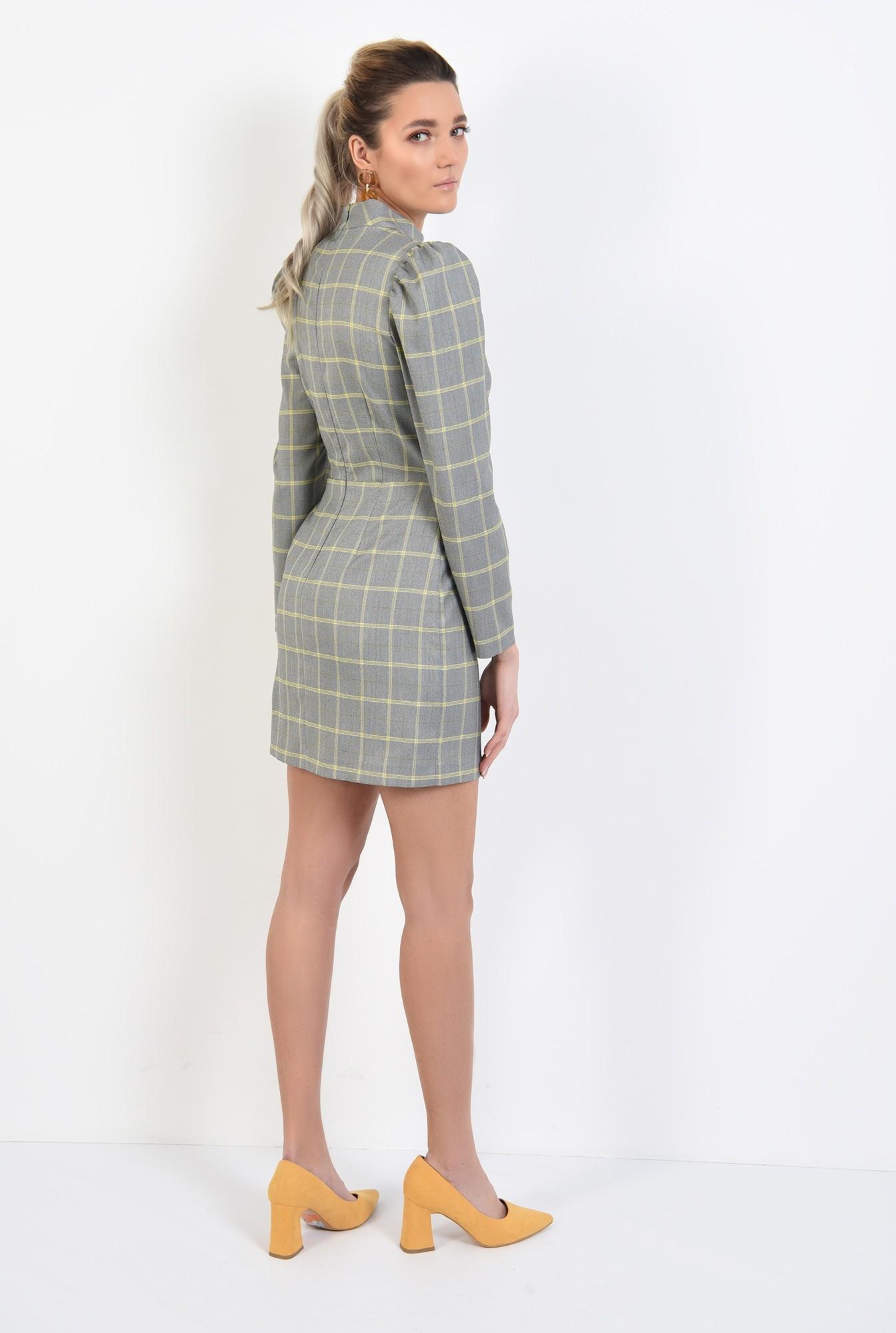 1 - 360 - rochie casual, scurta, in carouri, maneci lungi, guler aplicat