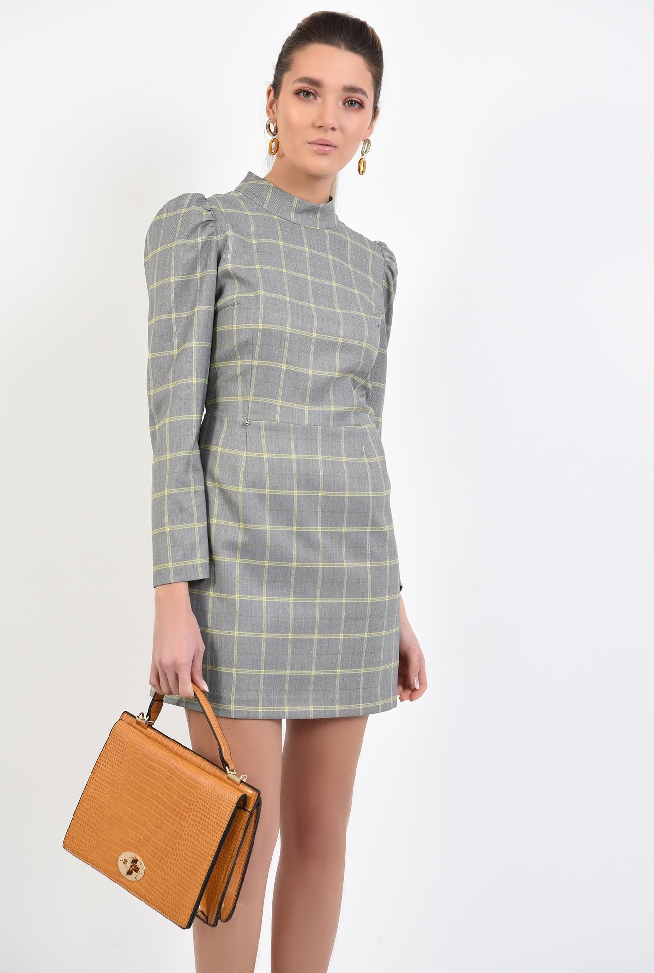 0 - 360 - rochie casual, scurta, in carouri, maneci lungi, guler aplicat