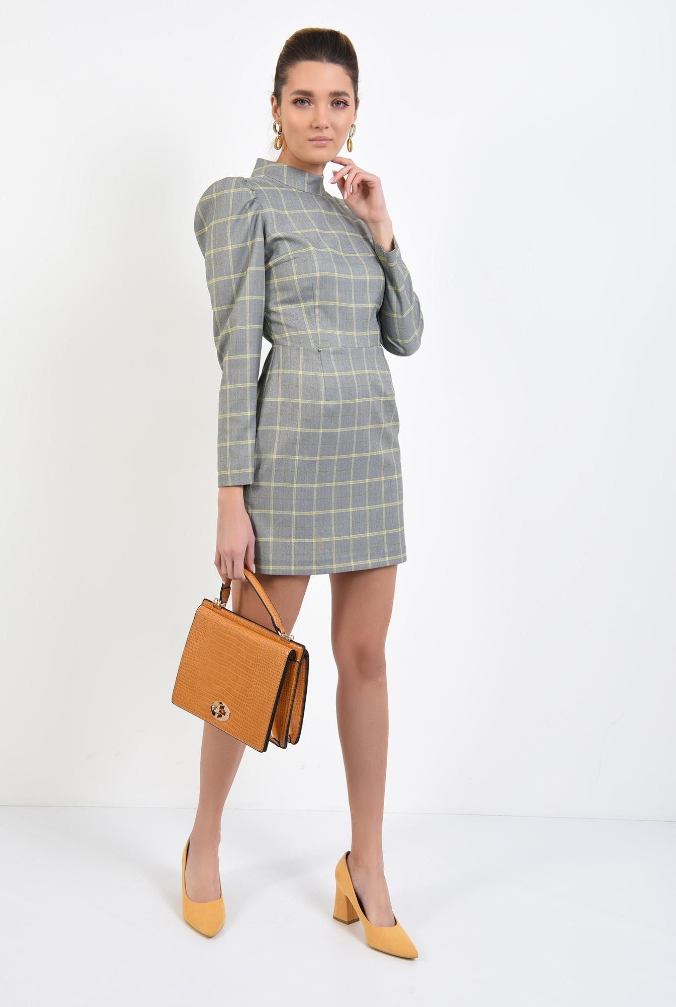 3 - 360 - rochie casual, scurta, in carouri, maneci lungi, guler aplicat