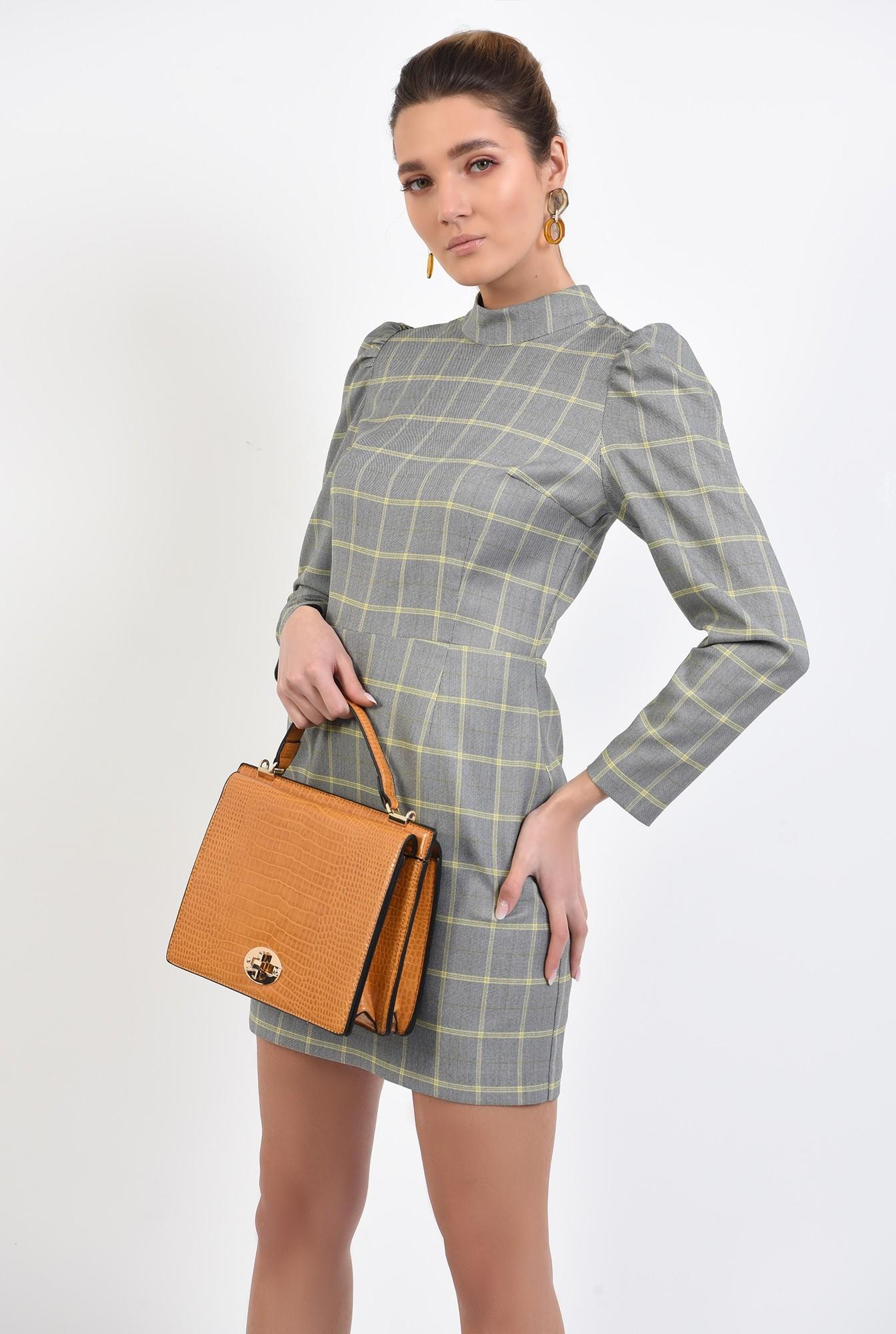 2 - 360 - rochie casual, scurta, in carouri, maneci lungi, guler aplicat