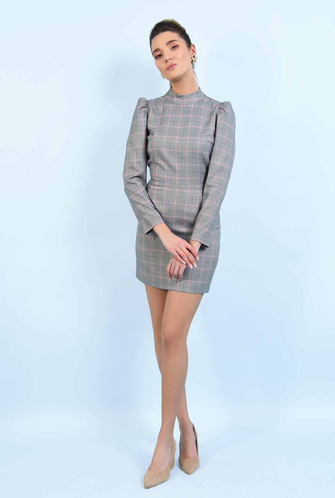 3 - rochie casual, scurta, in carouri, maneci lungi, guler aplicat
