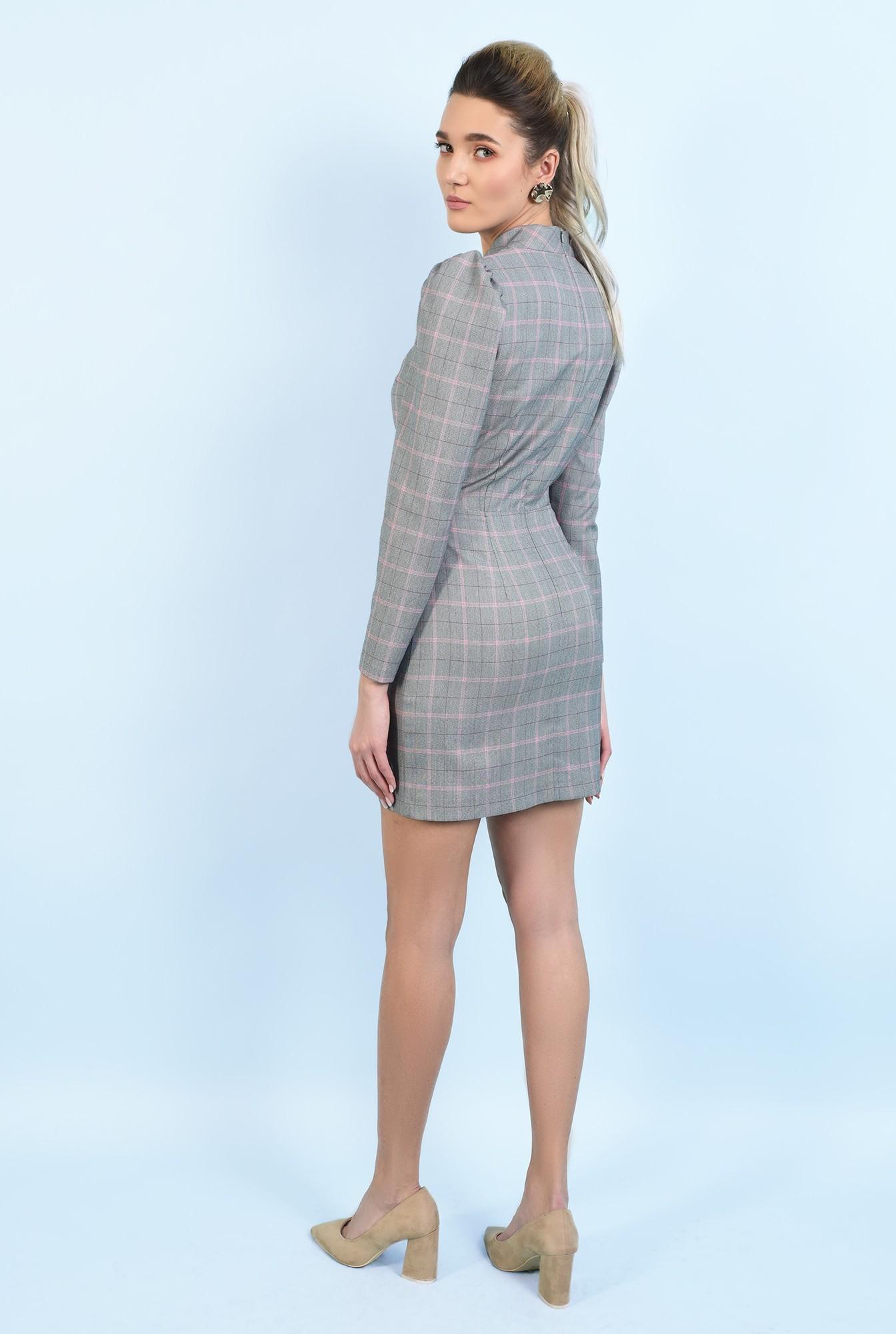 1 - rochie casual, scurta, in carouri, maneci lungi, guler aplicat