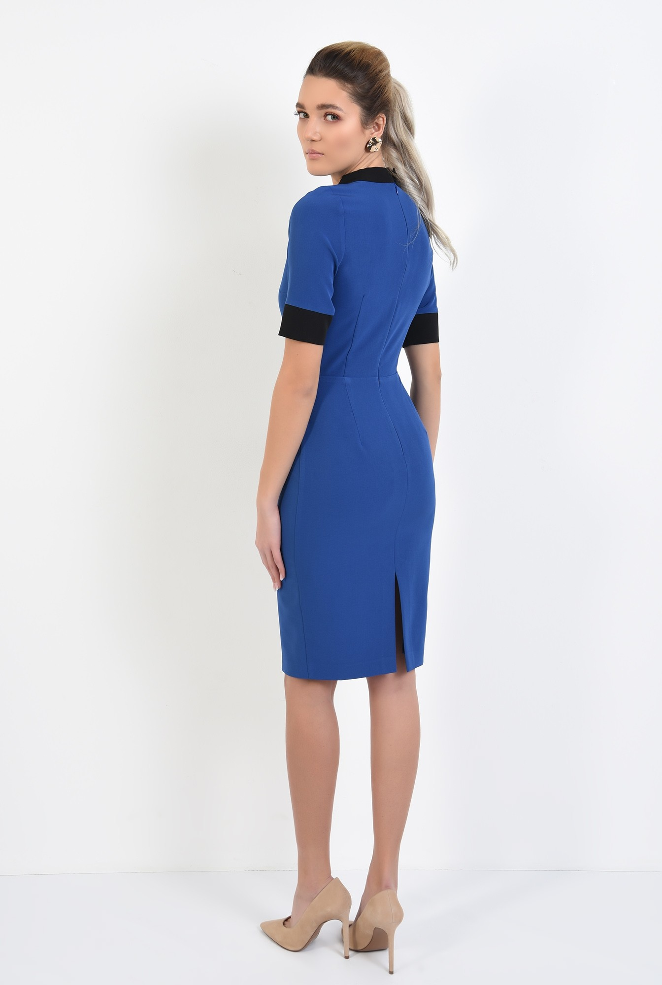 1 - rochie office, midi, conica, maneci scurte, borduri in contrast