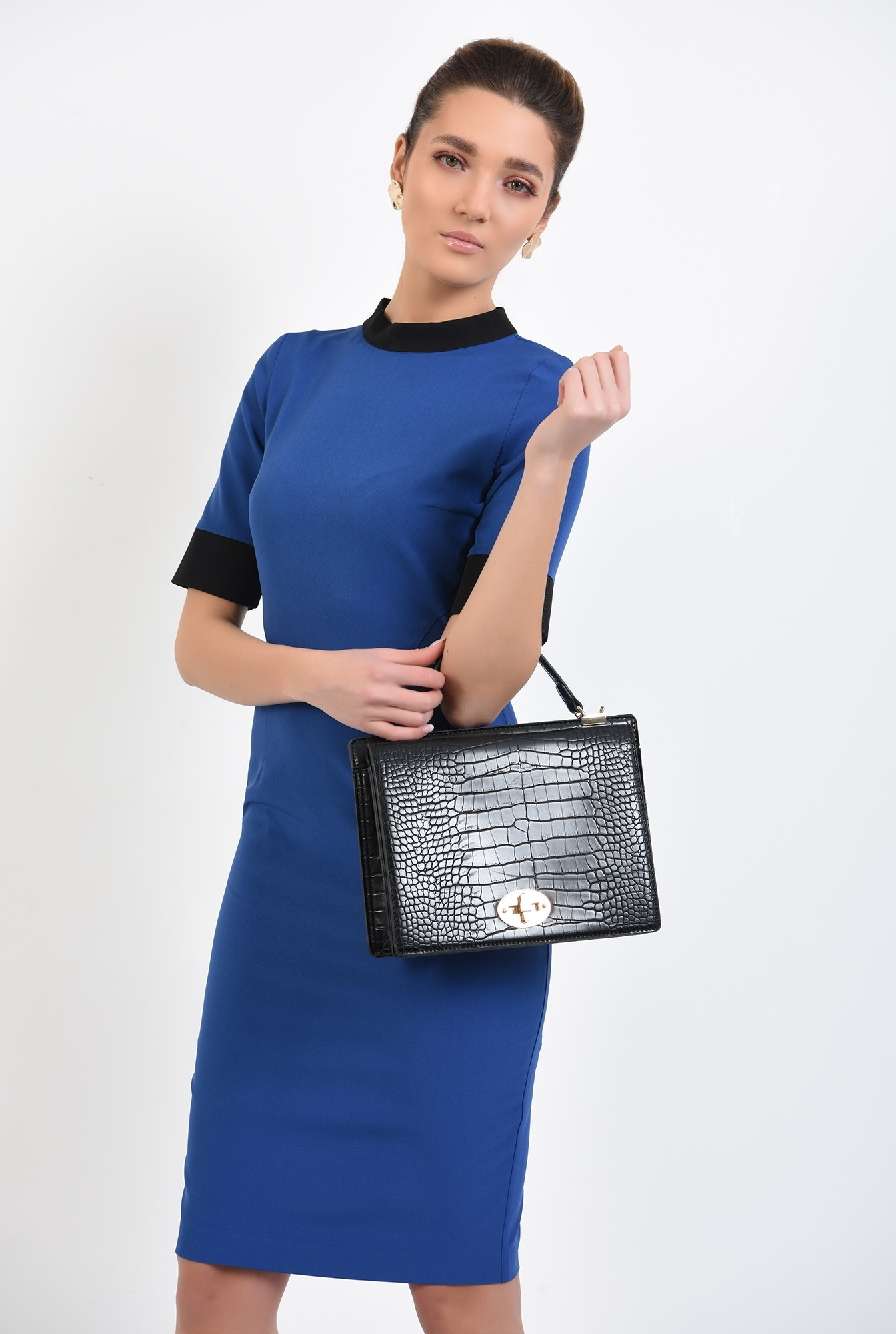 0 - rochie office, midi, conica, maneci scurte, borduri in contrast