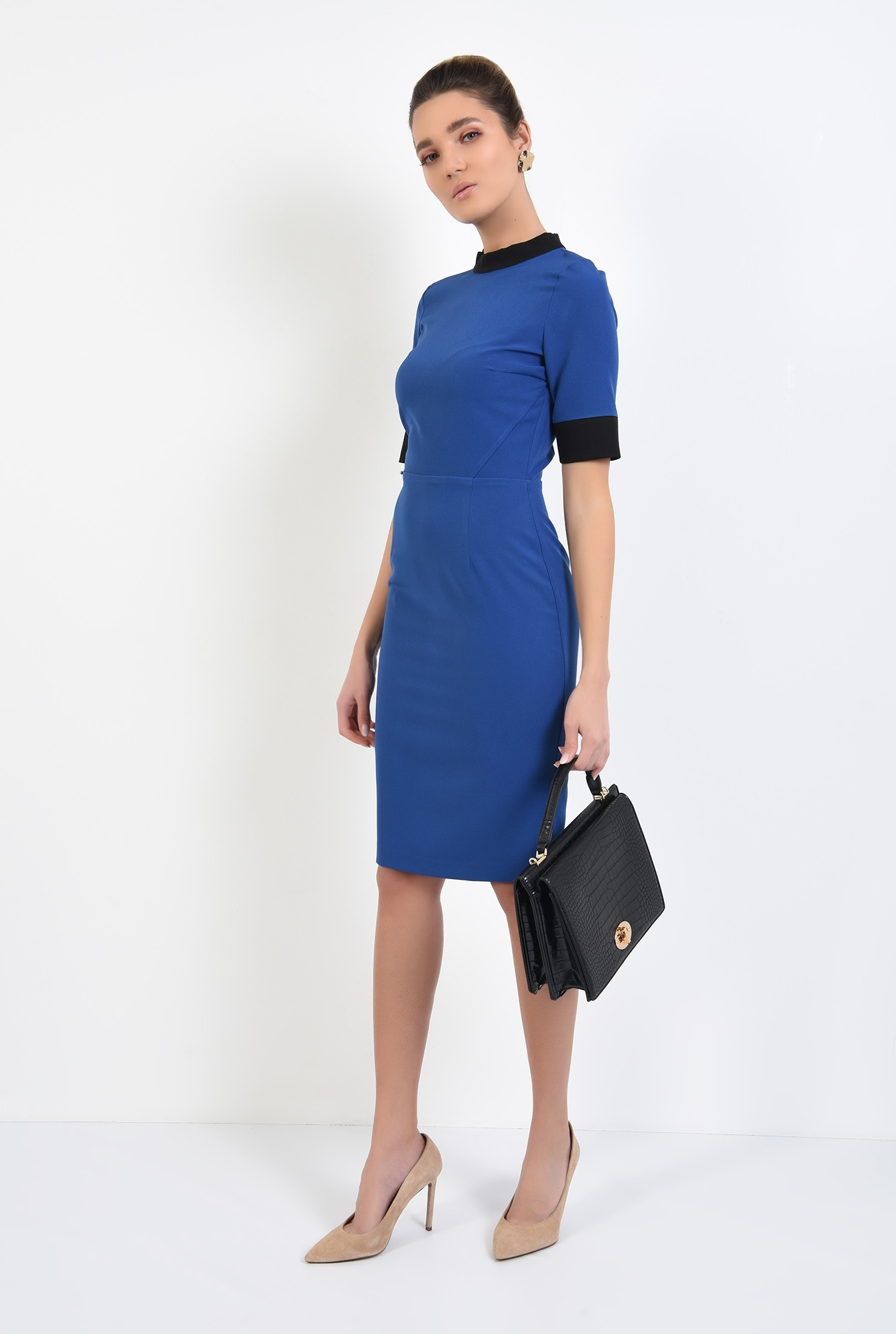 3 - rochie office, midi, conica, maneci scurte, borduri in contrast