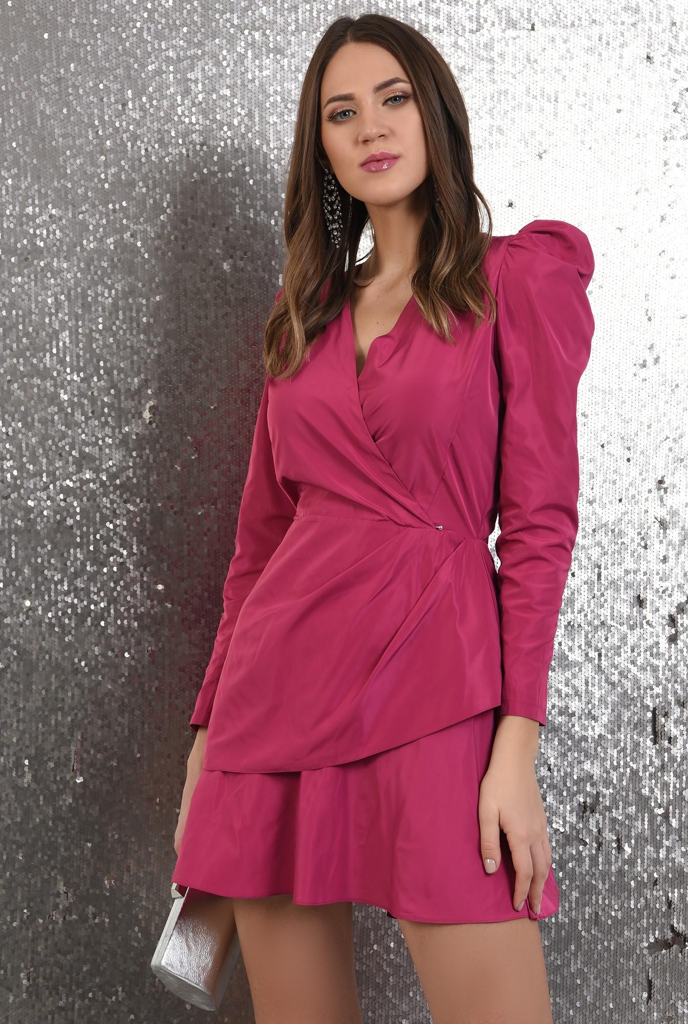 2 - rochie eleganta, petrecuta, cu pliuri decorative, maneci lungi, Poema
