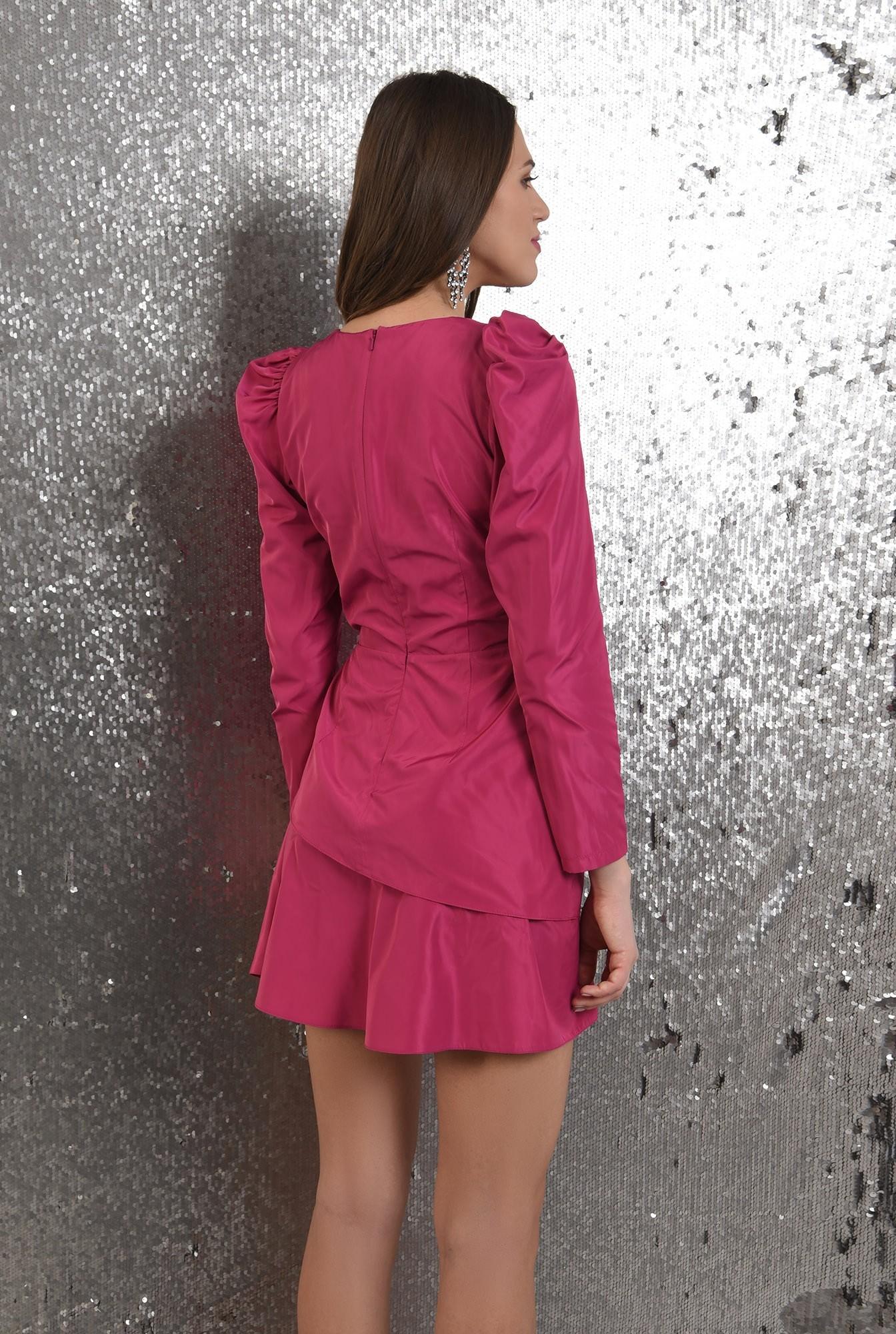 1 - rochie eleganta, petrecuta, cu pliuri decorative, maneci lungi, Poema
