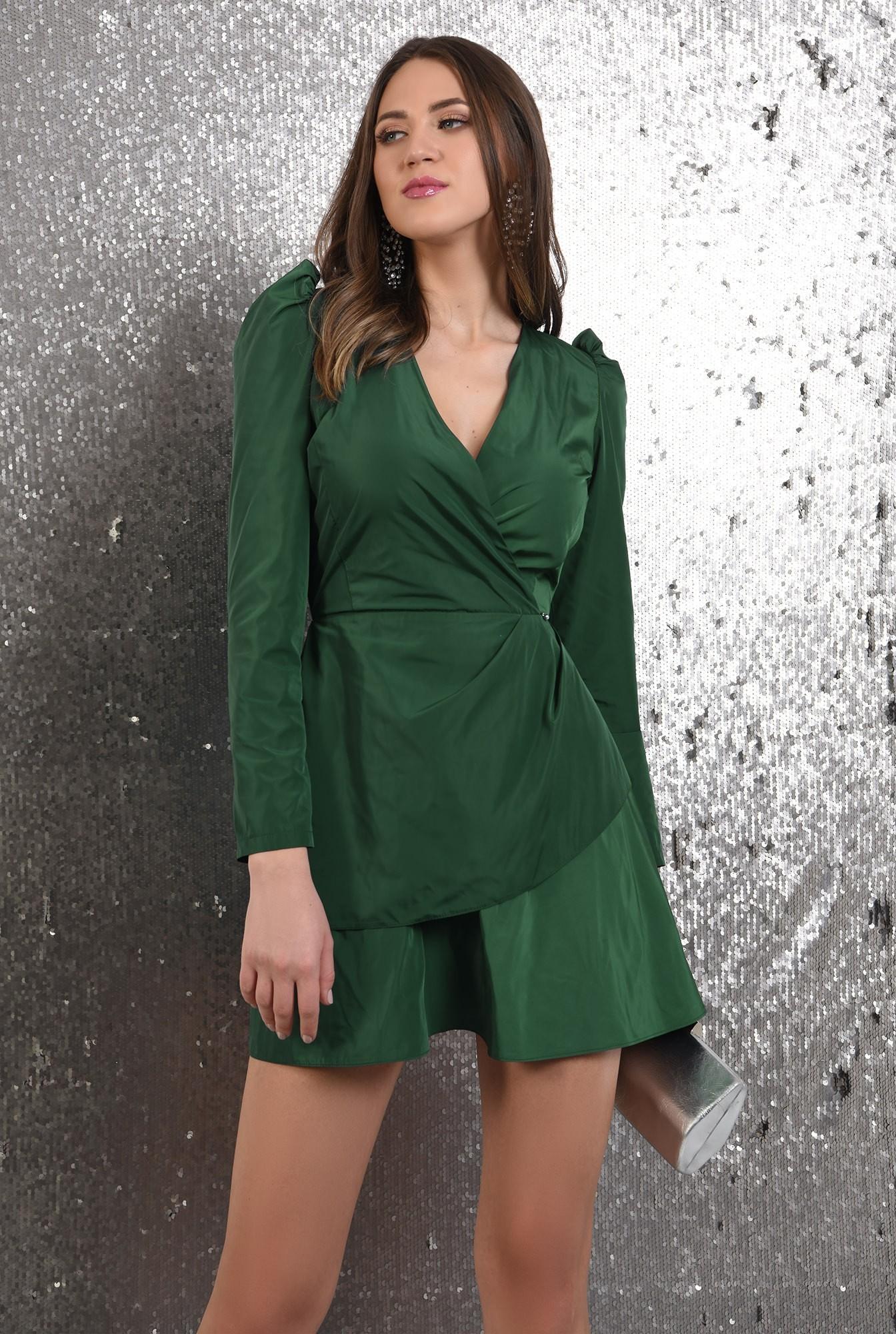 2 - 360 - rochie eleganta, petrecuta, cu pliuri decorative, maneci lungi, Poema
