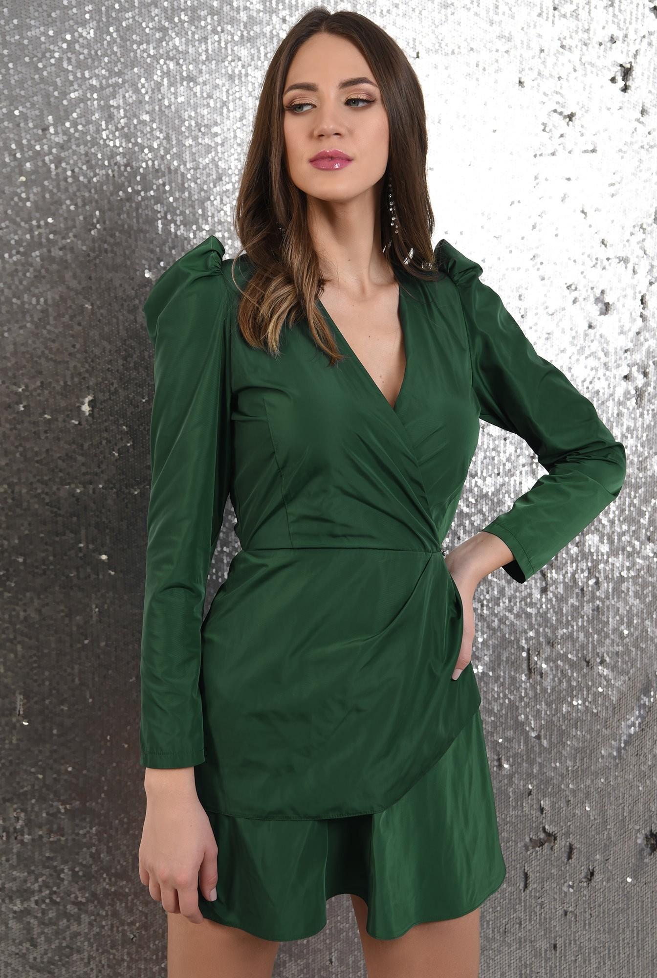 0 - 360 - rochie eleganta, petrecuta, cu pliuri decorative, maneci lungi, Poema