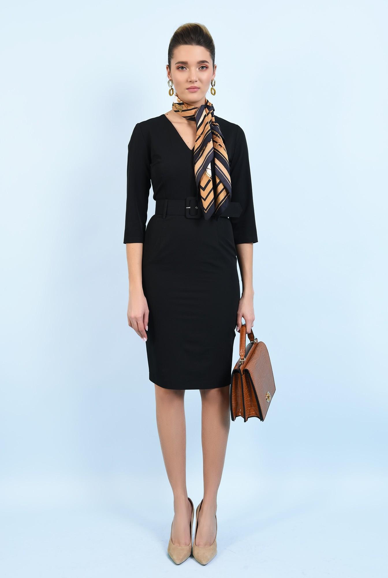 3 - rochie neagra, midi, office, conica, cu curea, decolteu anchior