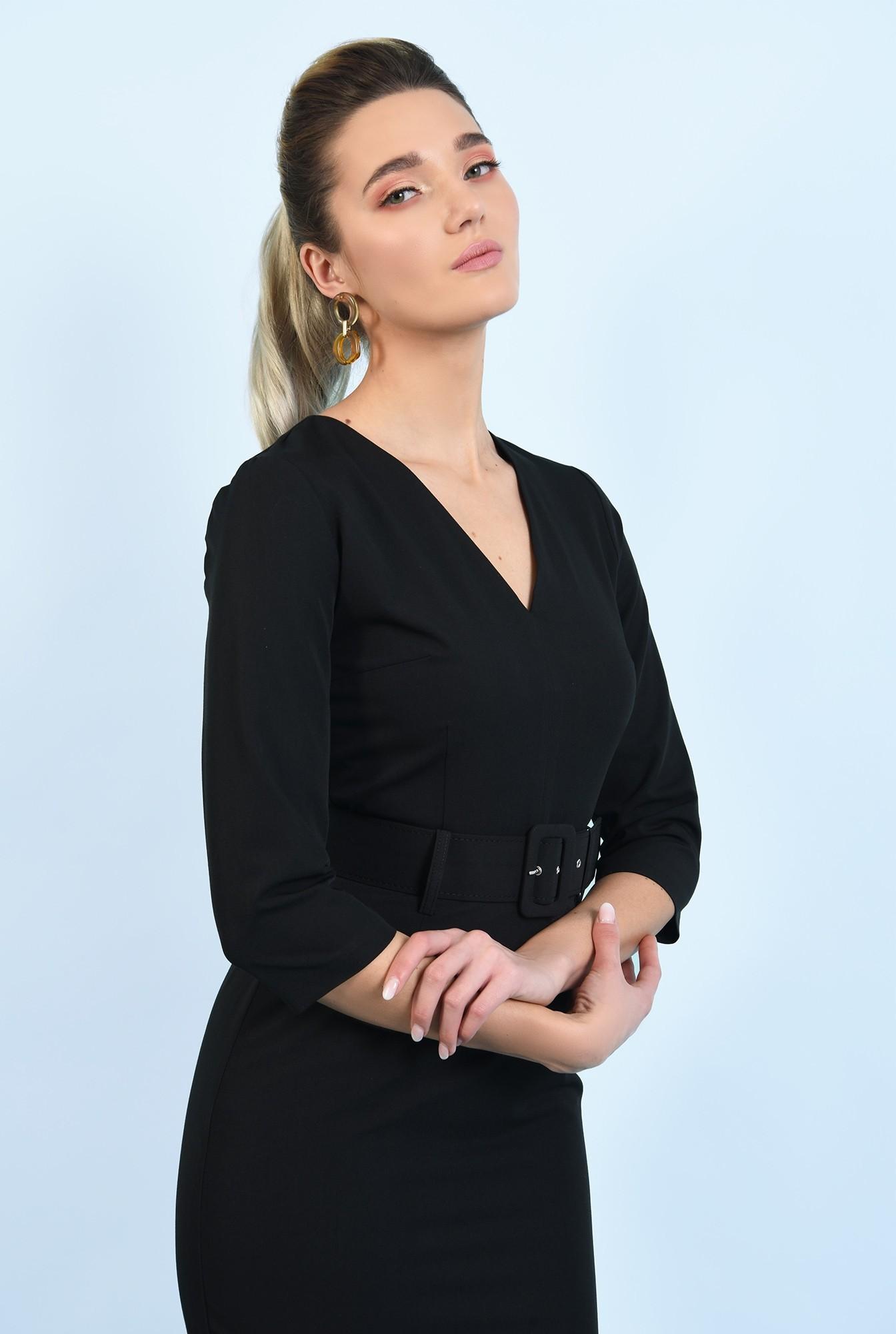 2 - rochie neagra, midi, office, conica, cu curea, decolteu anchior