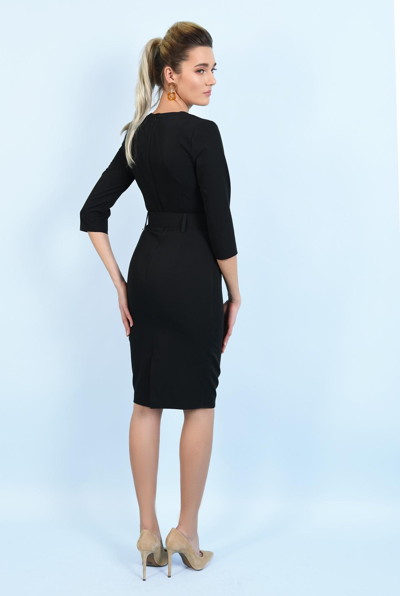 1 - rochie neagra, midi, office, conica, cu curea, decolteu anchior
