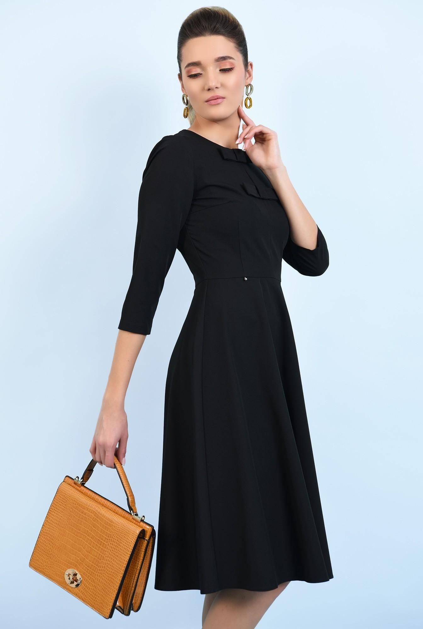 0 - 360 - rochie neagra, evazata, cu funde, rochie office, midi