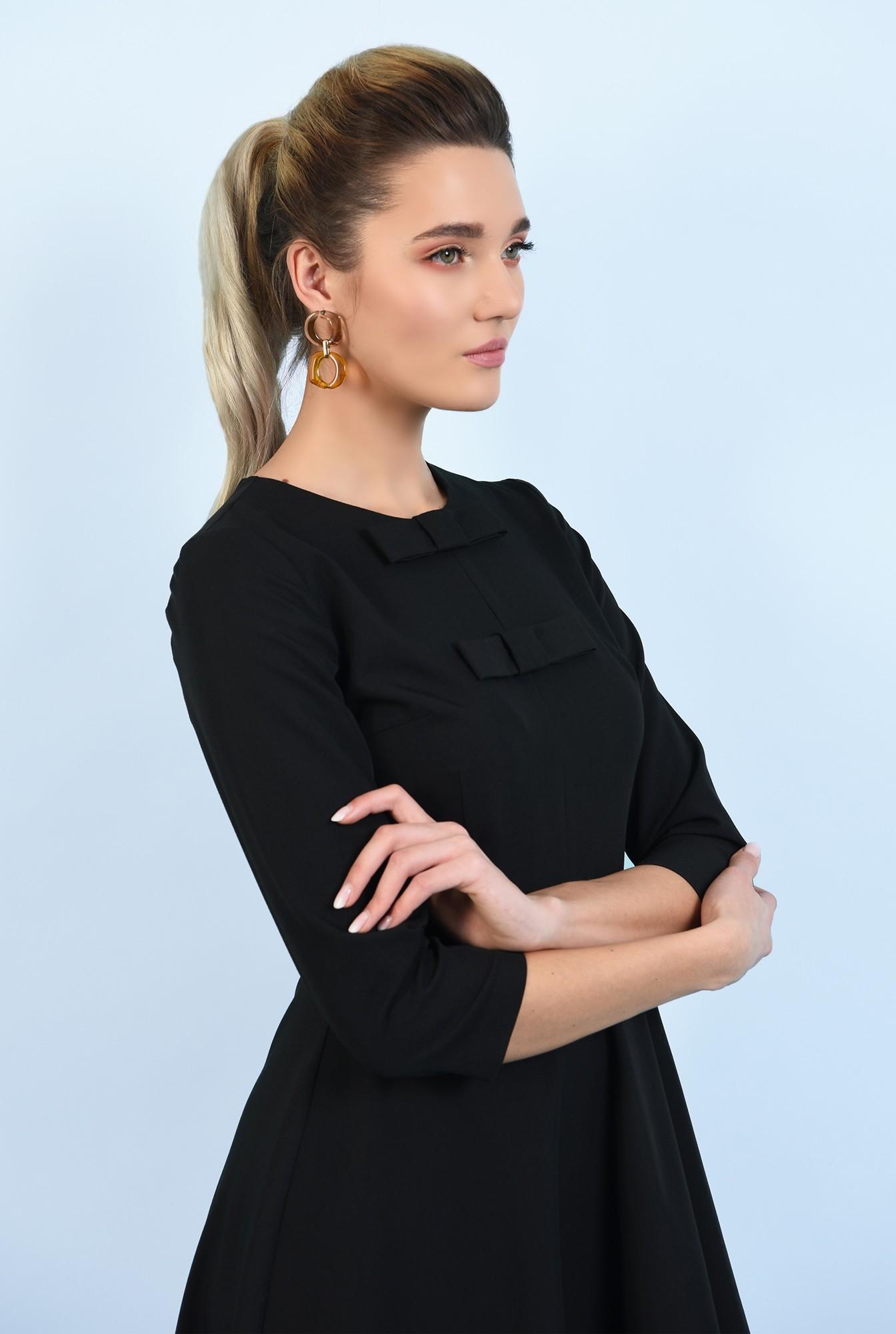 2 - 360 - rochie neagra, evazata, cu funde, rochie office, midi
