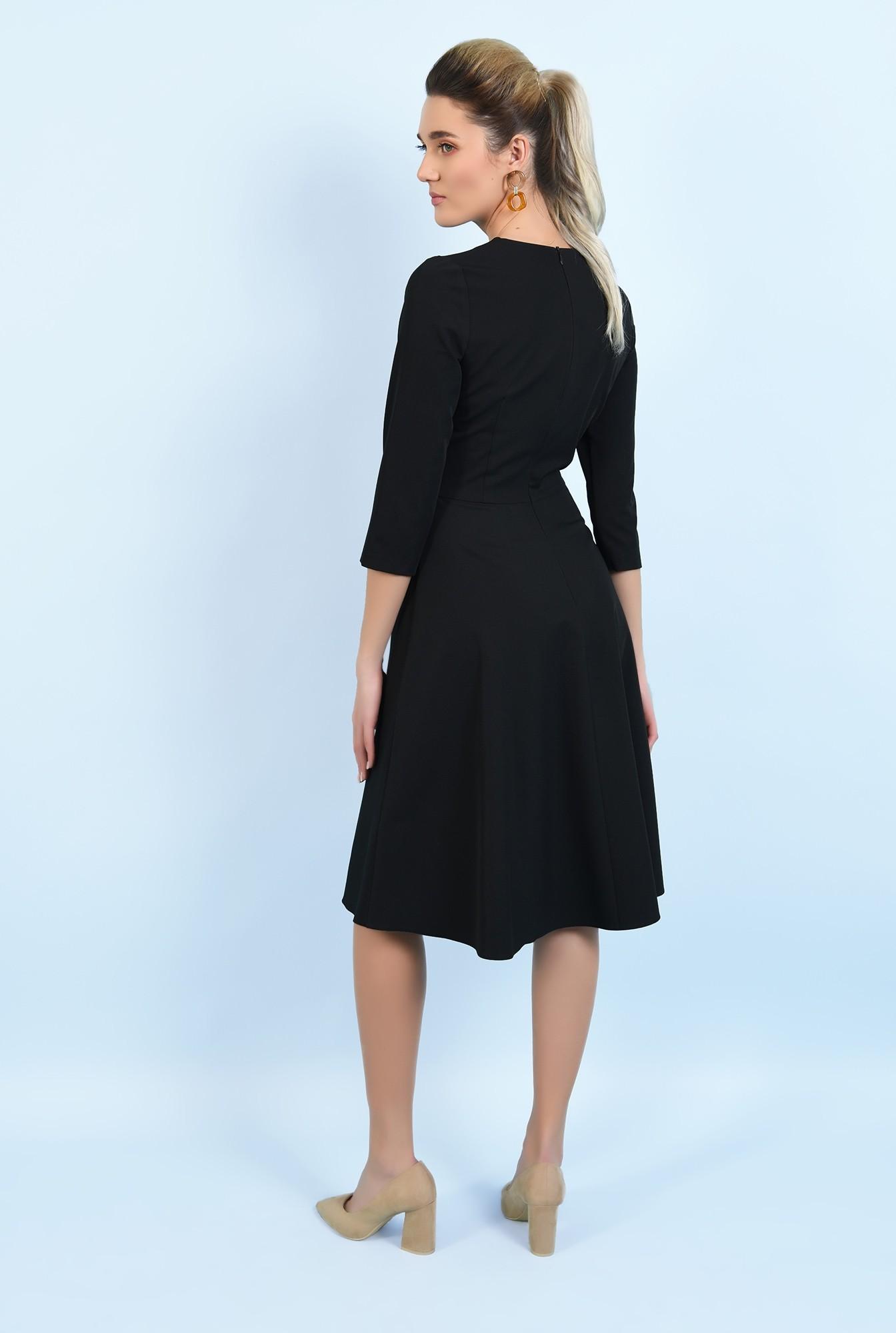 1 - 360 - rochie neagra, evazata, cu funde, rochie office, midi