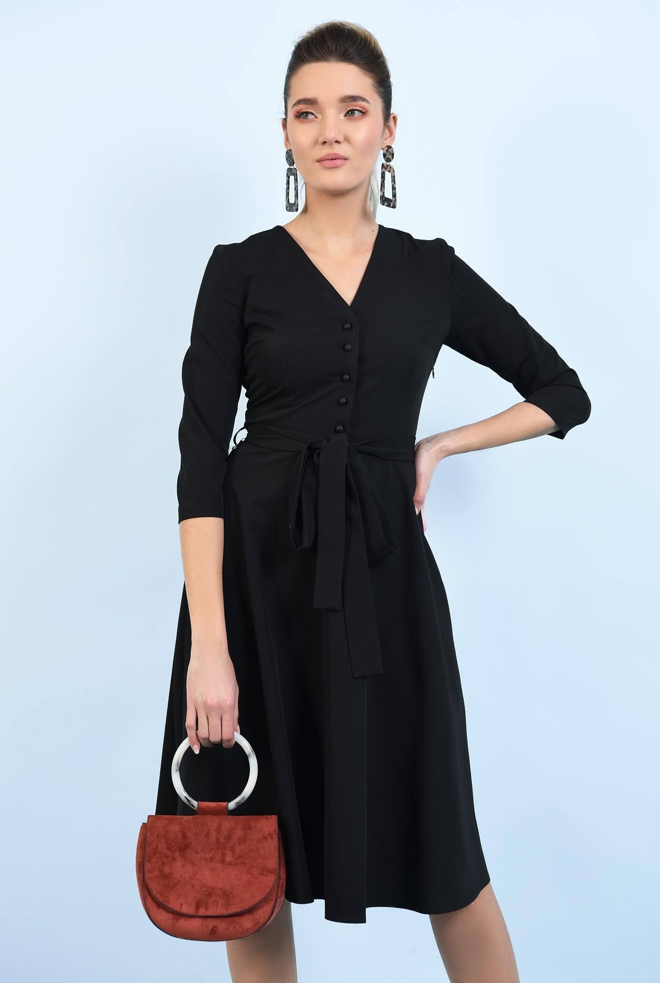 2 - 360 - rochie office, neagra, midi, cu nasturi, cu cordon
