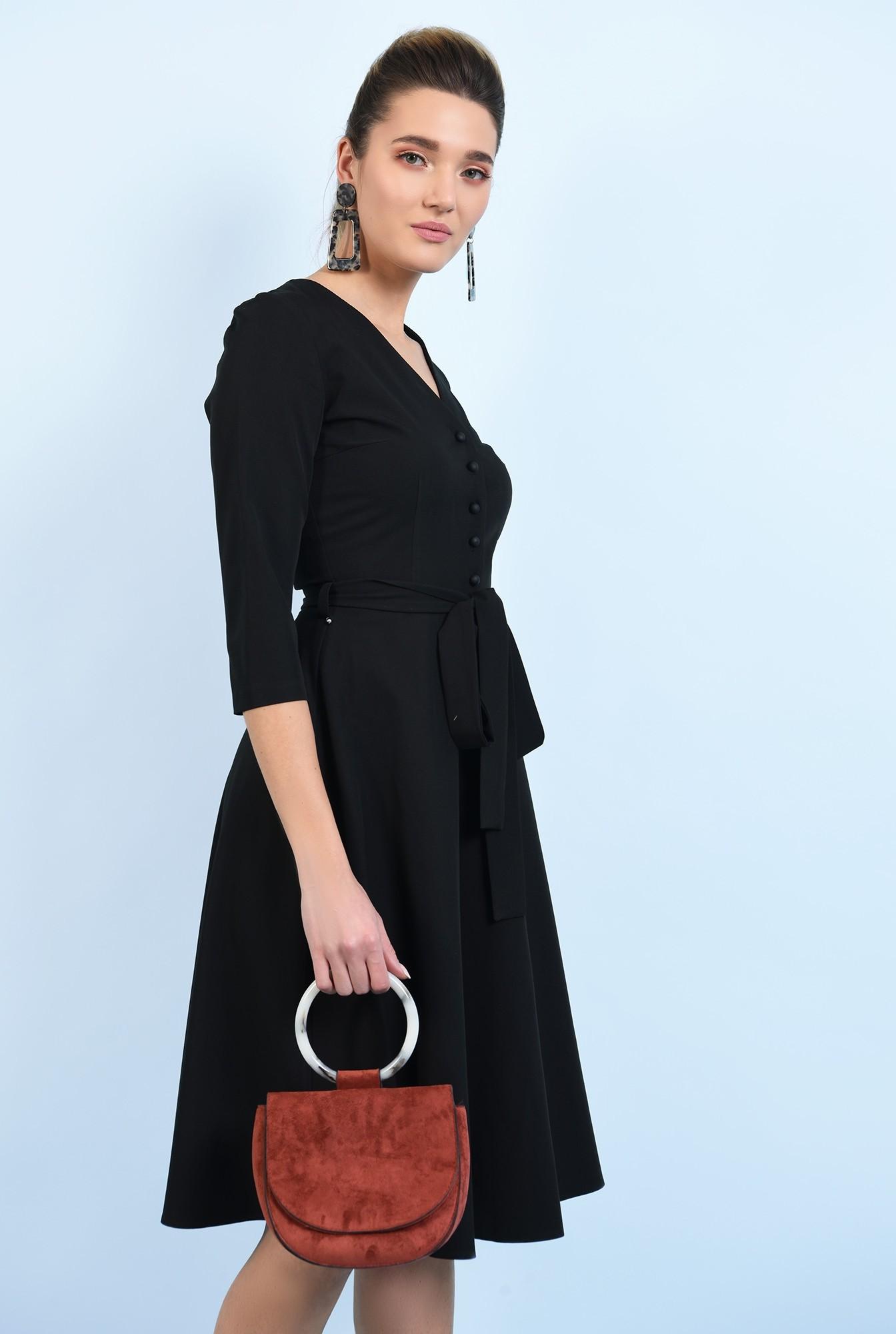 0 - 360 - rochie office, neagra, midi, cu nasturi, cu cordon
