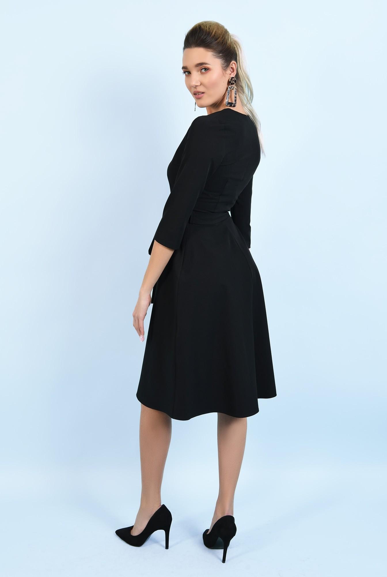 1 - 360 - rochie office, neagra, midi, cu nasturi, cu cordon