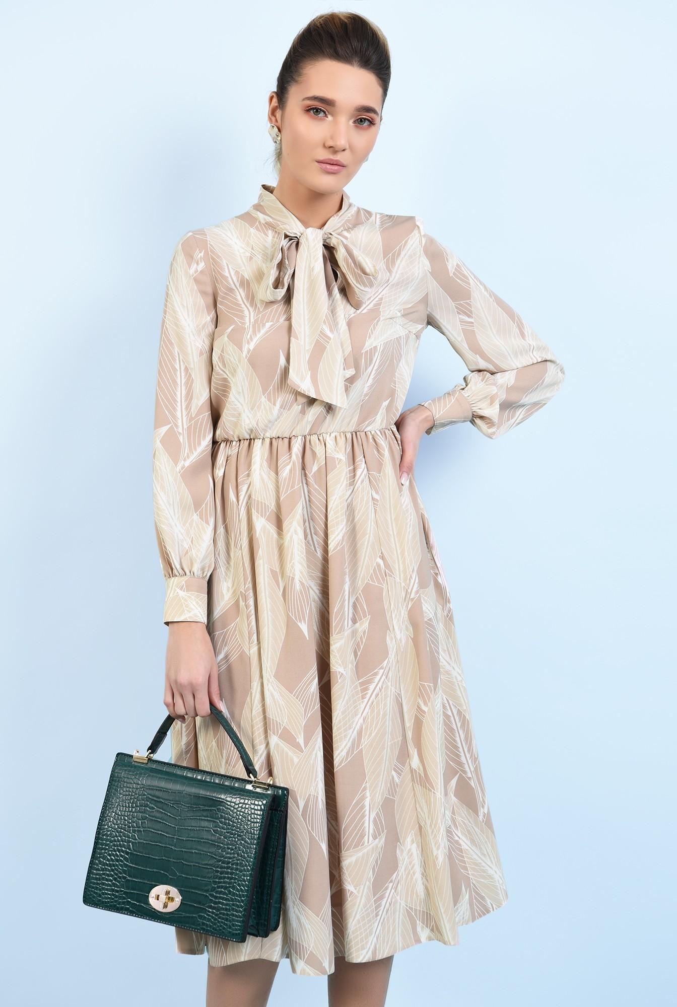 2 - 360 - rochie midi, clos, cu imprimeu, funda, rochie de primavara