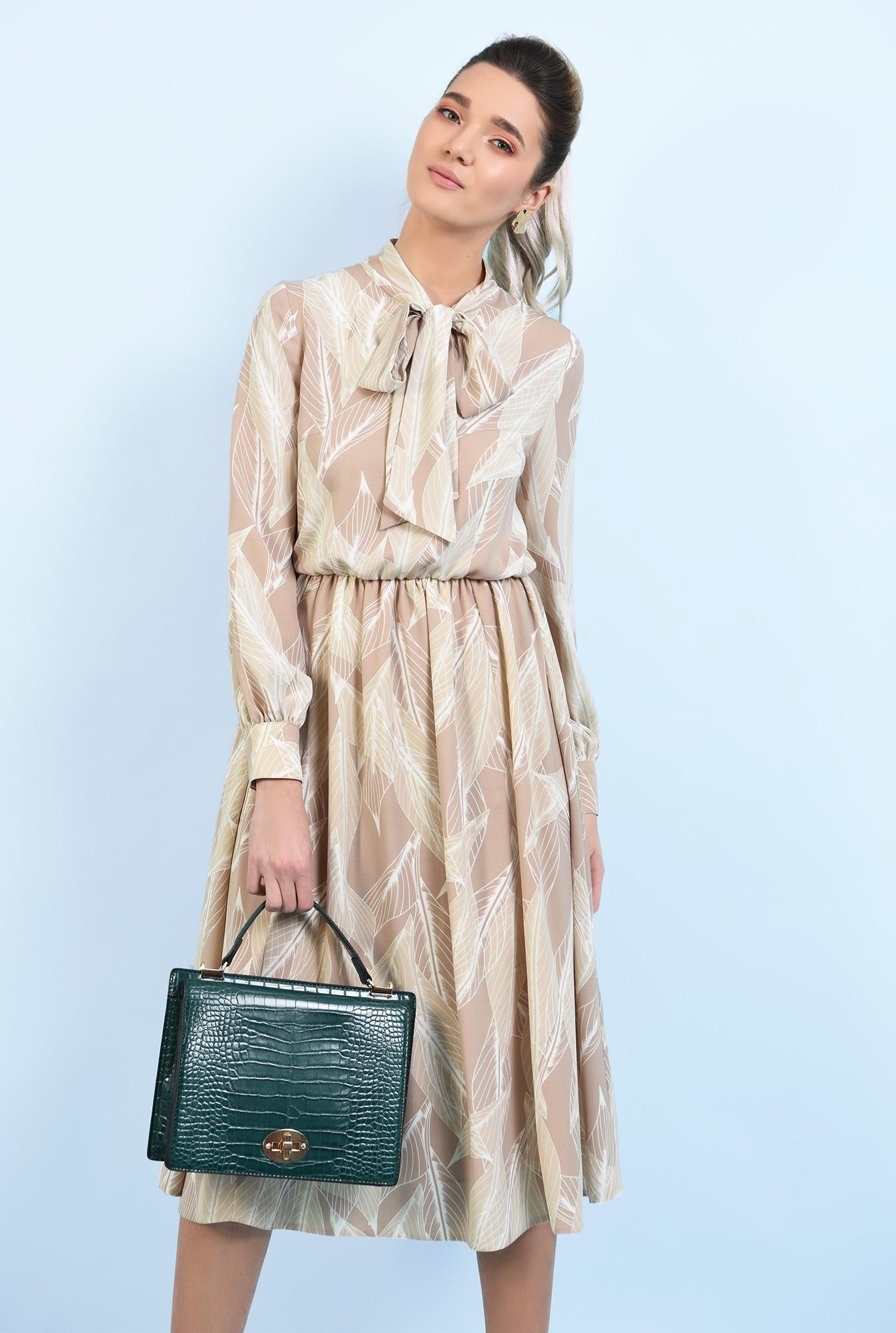0 - 360 - rochie midi, clos, cu imprimeu, funda, rochie de primavara