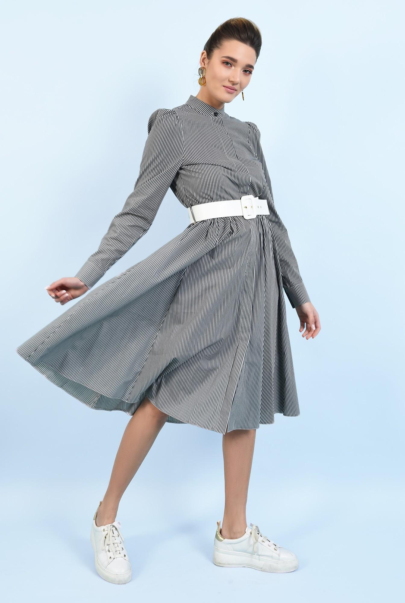 0 -  rochie casual, evazata, cu nasturi, cu dungi, curea alba